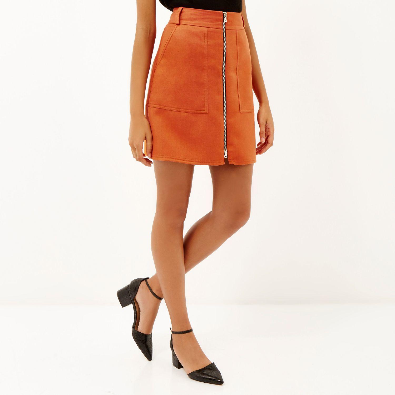 River island Orange A-line Zip Front Skirt in Orange | Lyst