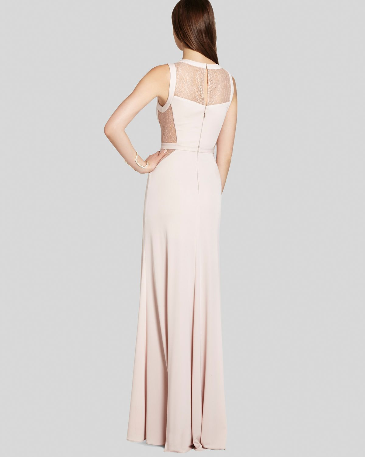 Lyst - Bcbgmaxazria Gown - Cristy V Neck Lace Inset Jersey in Pink