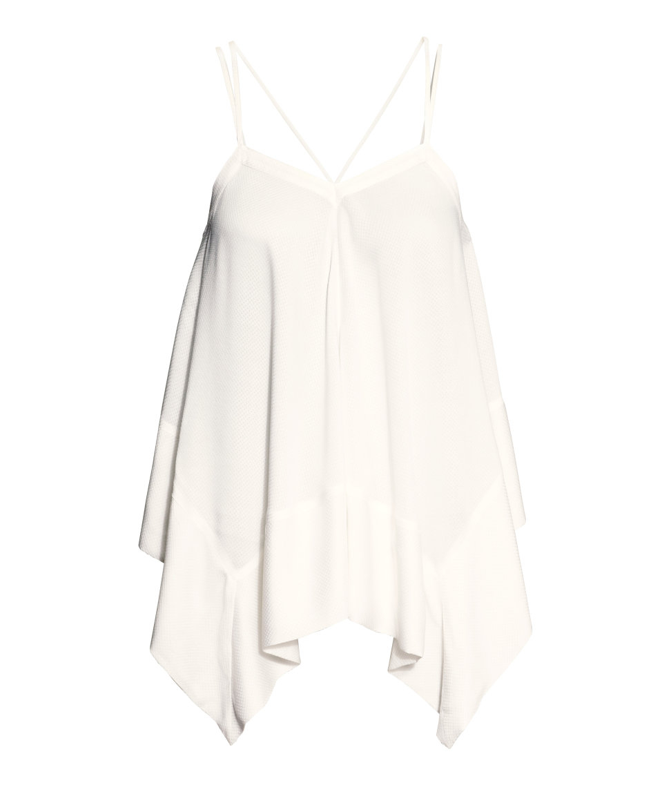 H Amp M Draped Top In White Lyst