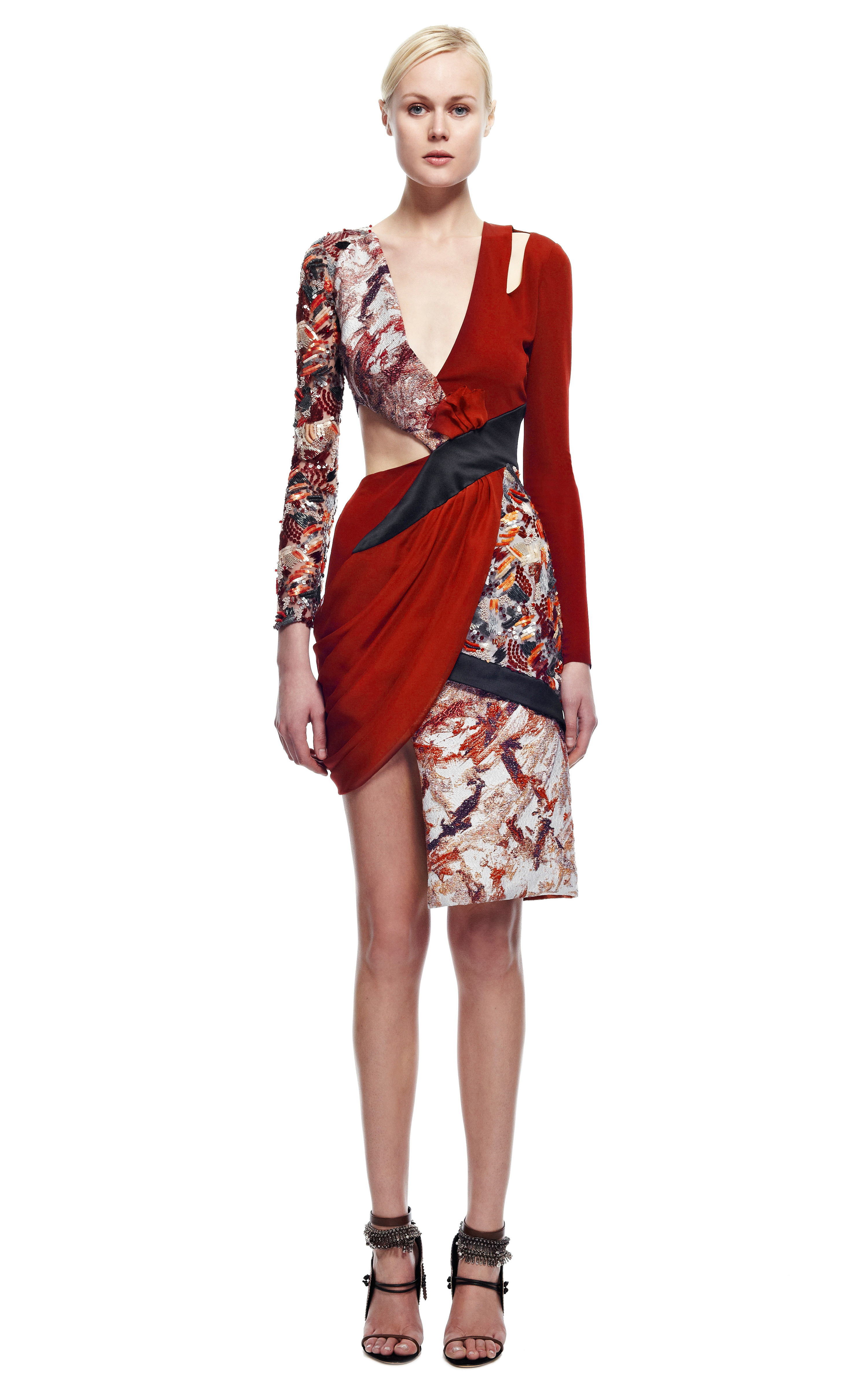 Prabal Gurung Crimson Jersey Cutout Dress With Embroidery