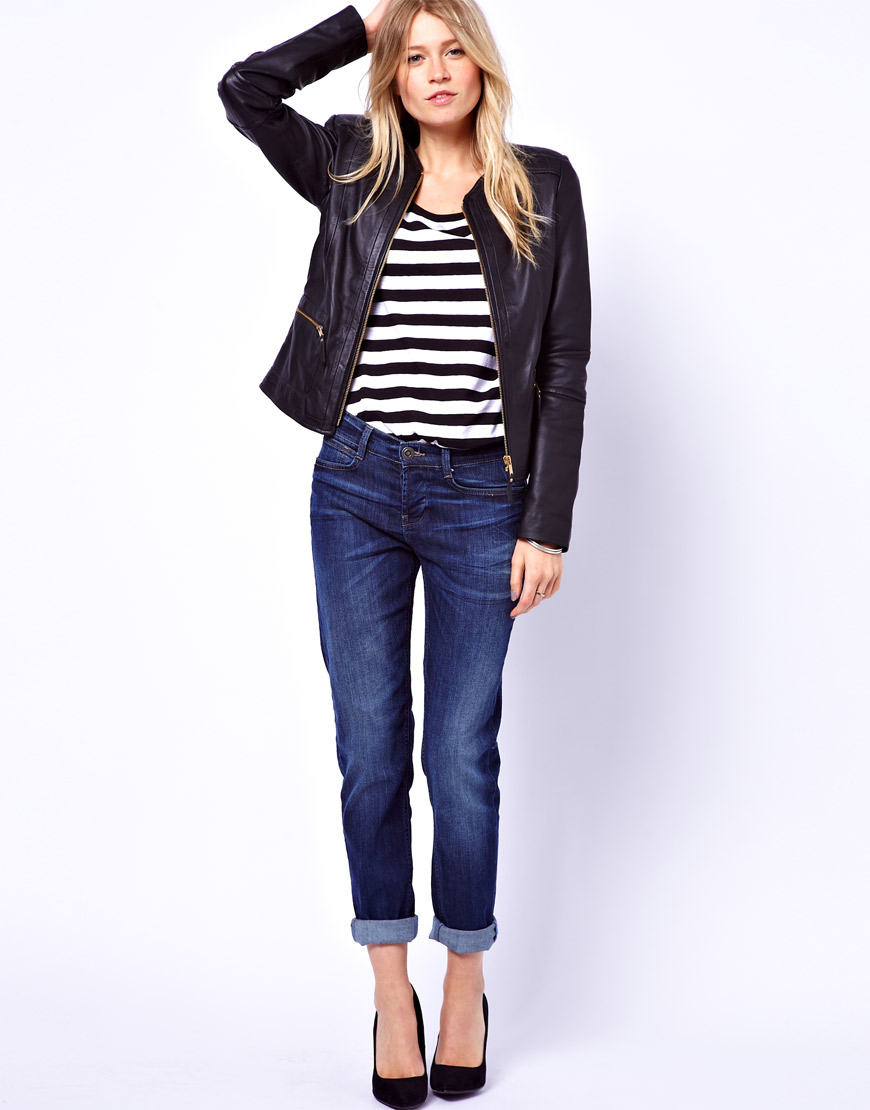 Mango Collarless Zip Leather Jacket in Black | Lyst