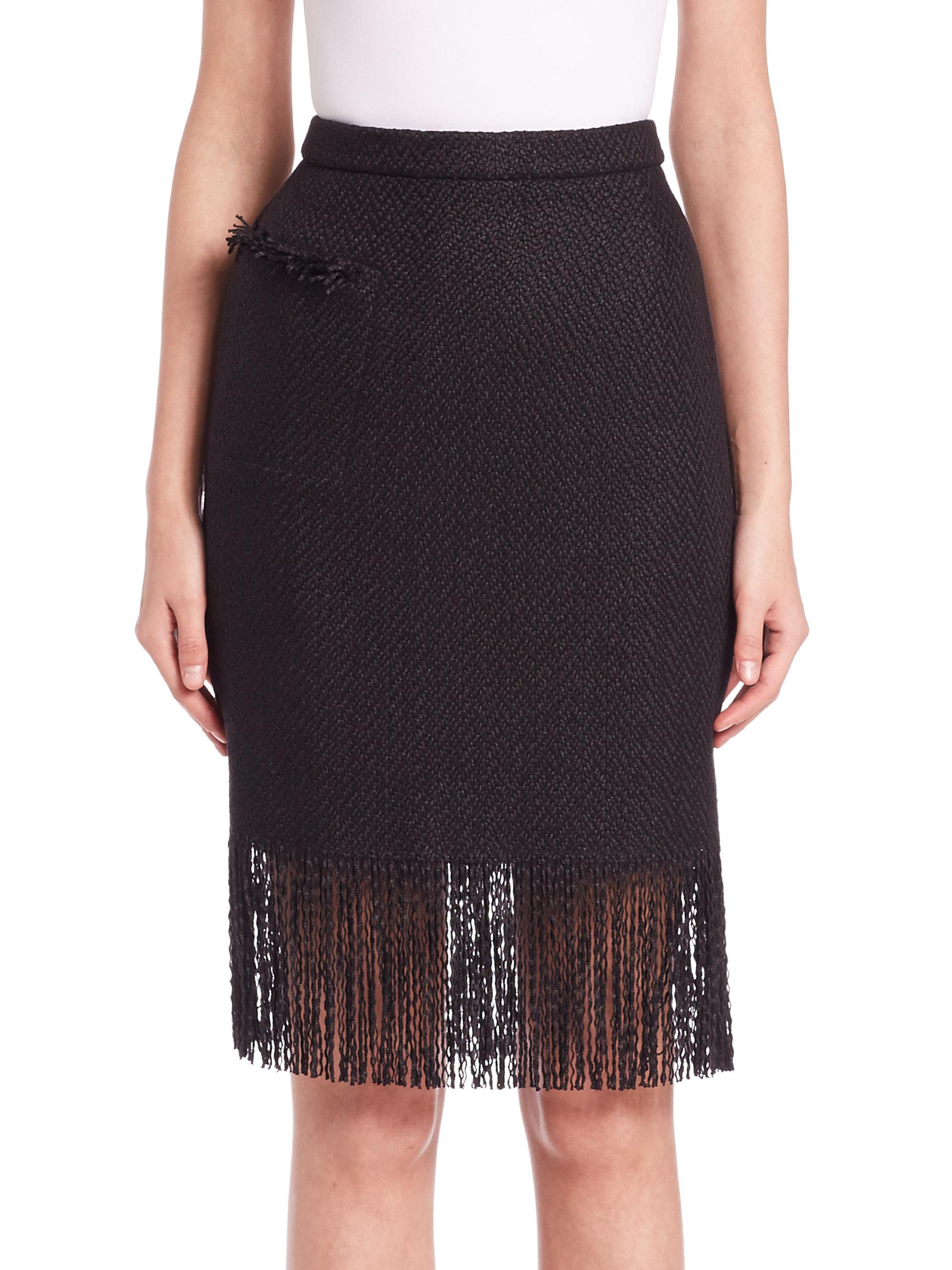 adam lippes fringe trim pencil skirt in black lyst