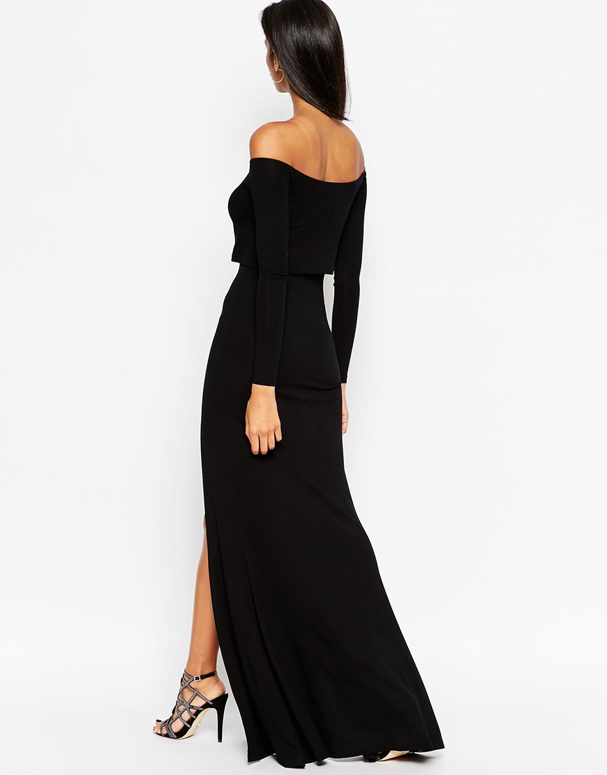 Lyst Asos Long Sleeve Crop Top Bardot Maxi Dress With
