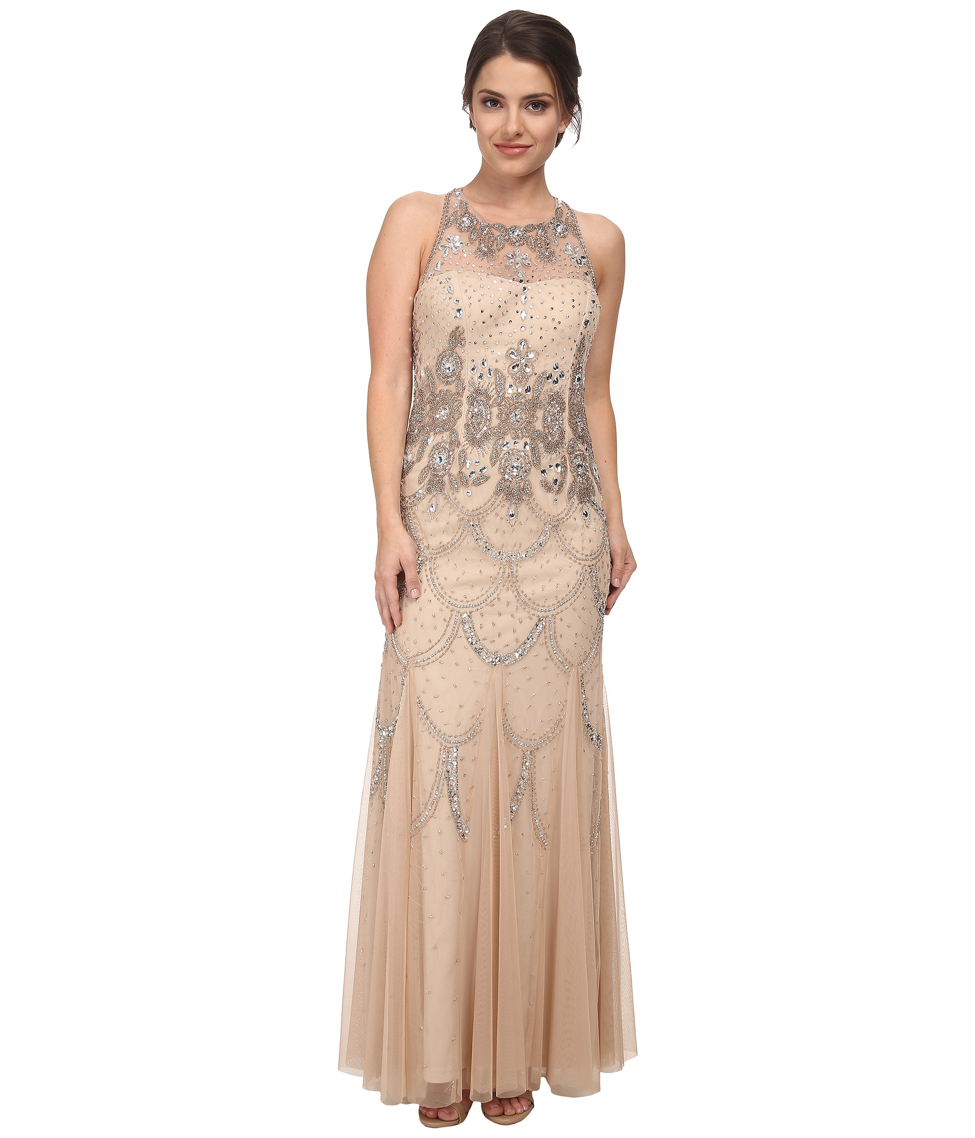 976d6a408492 Adrianna Papell Halter Fully Beaded Gown in Metallic - Lyst