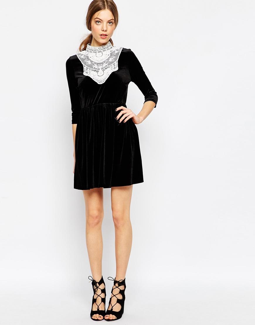 Asos Velvet Skater Dress With Lace Bib in Black