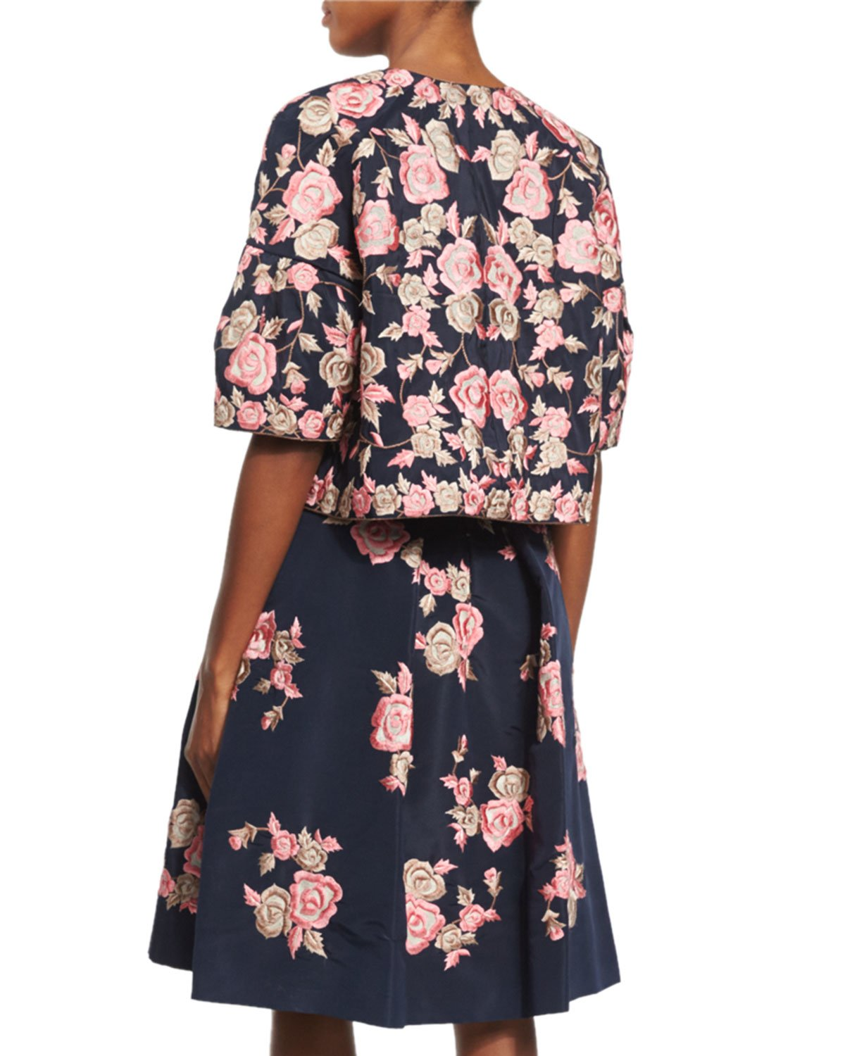 Lyst naeem khan floral embroidered open front jacket in blue