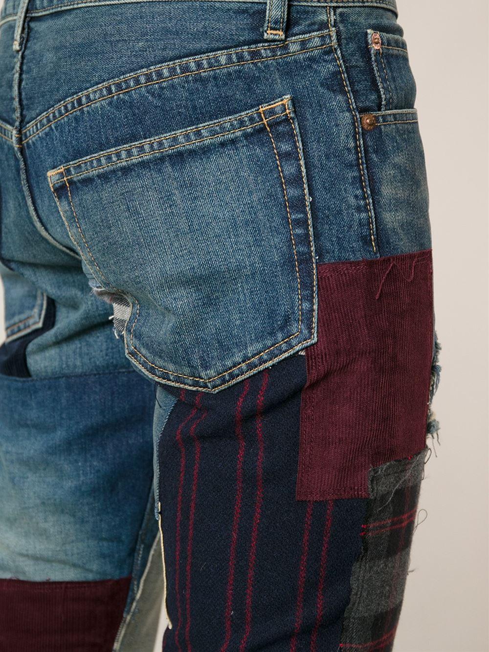 Lyst - Junya Watanabe Patchwork Straight Leg Jeans in Blue