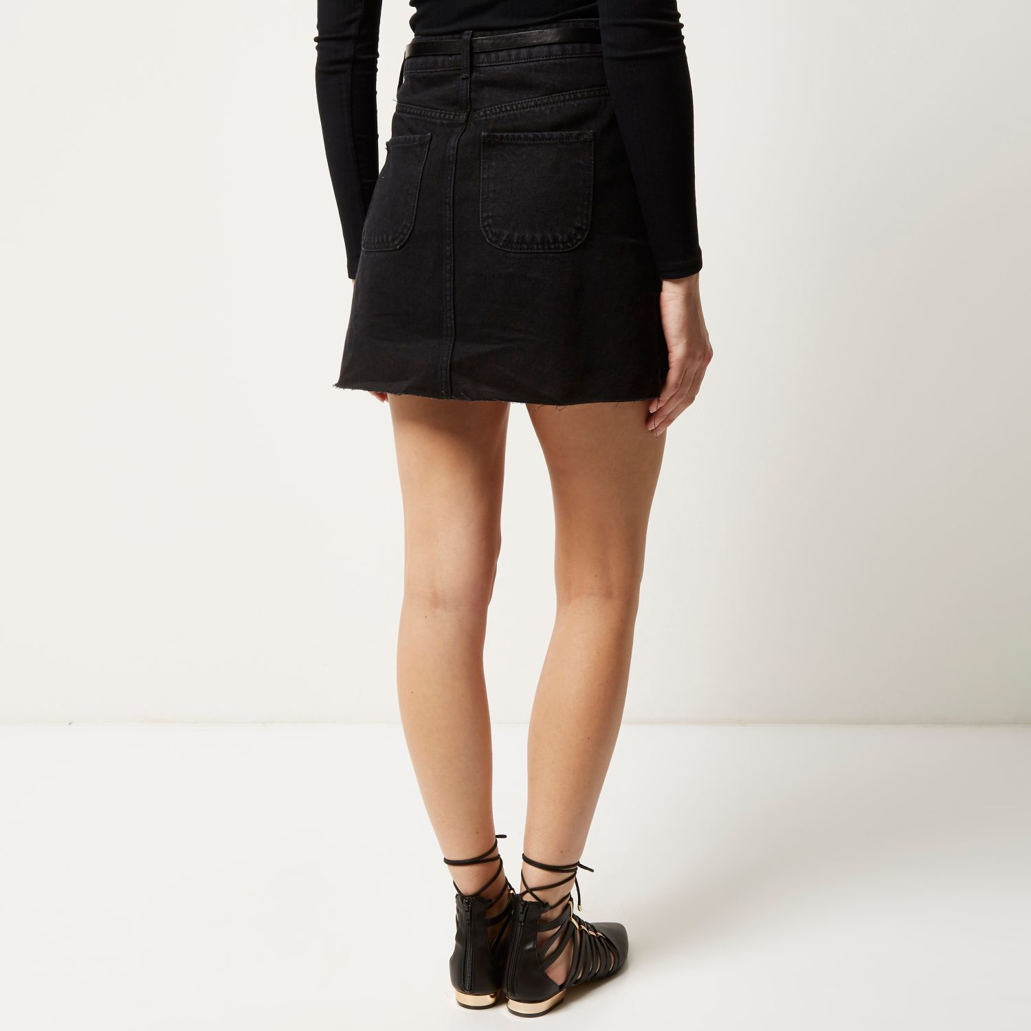 River island Black Denim Belted Button-up Skirt in Black | Lyst
