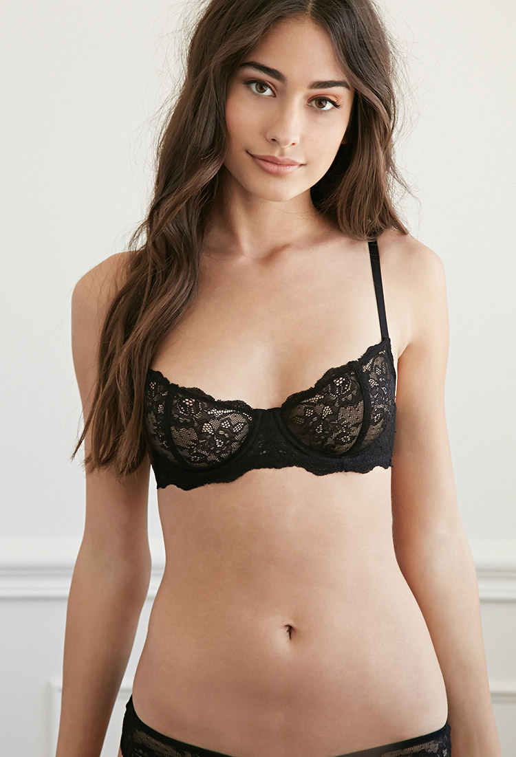 5ea16eccff Lyst - Forever 21 Sheer Lace Underwire Bra in Black