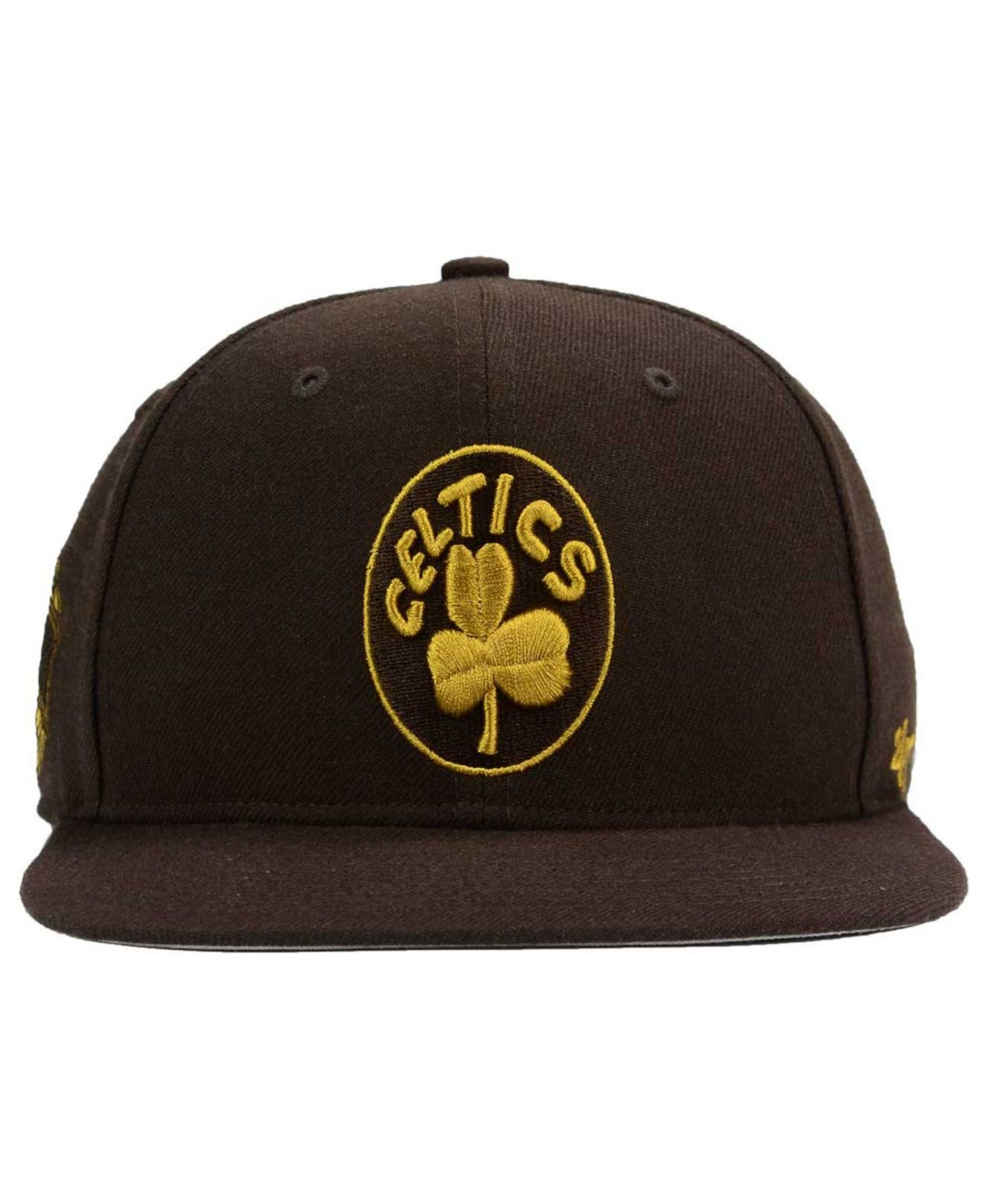 new style b41fb f4877 Lyst - 47 Brand Boston Celtics Sure Shot Snapback Cap in Brown for Men