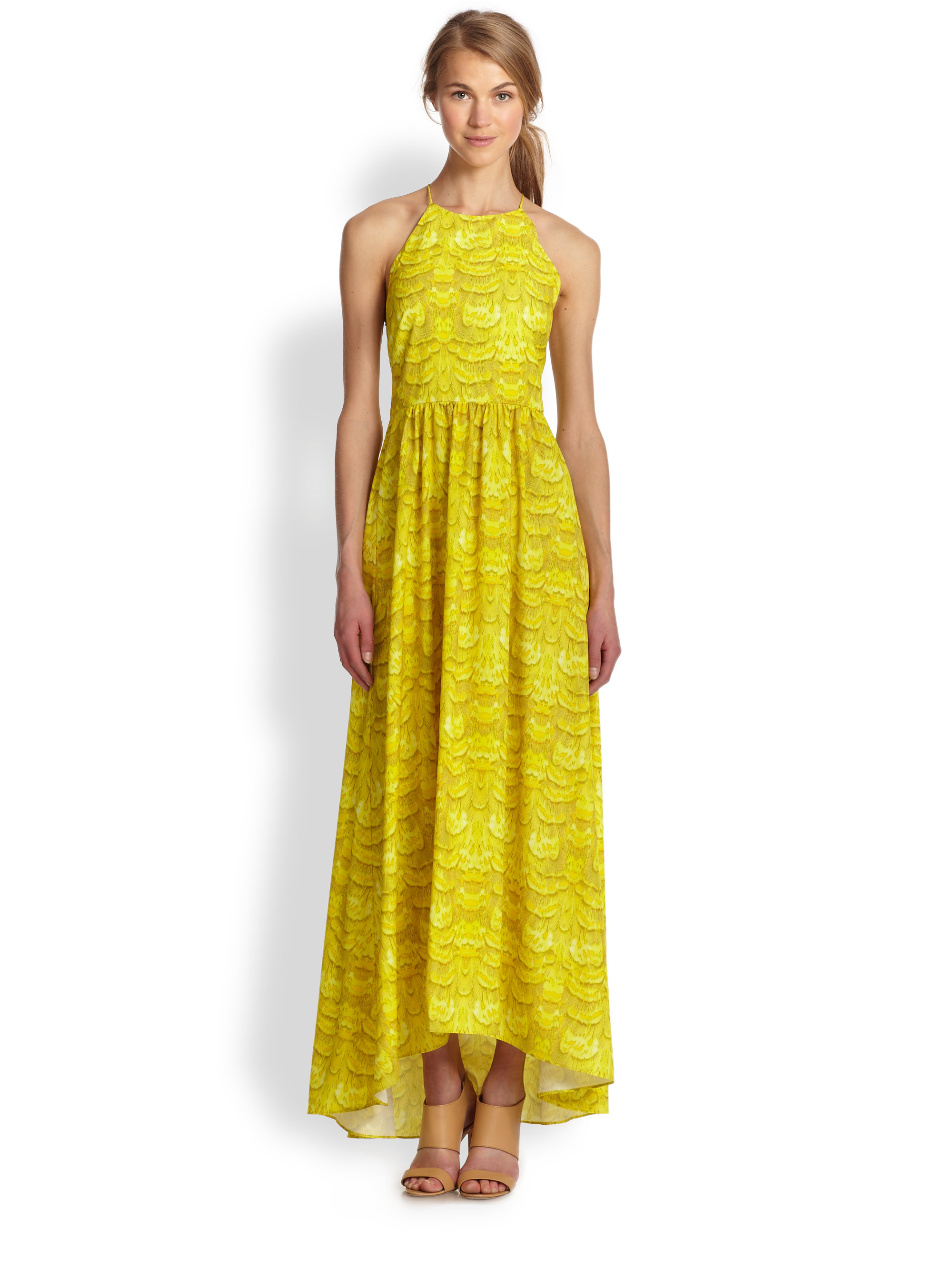Tibi Printed Chiffon Maxi Dress in Yellow | Lyst