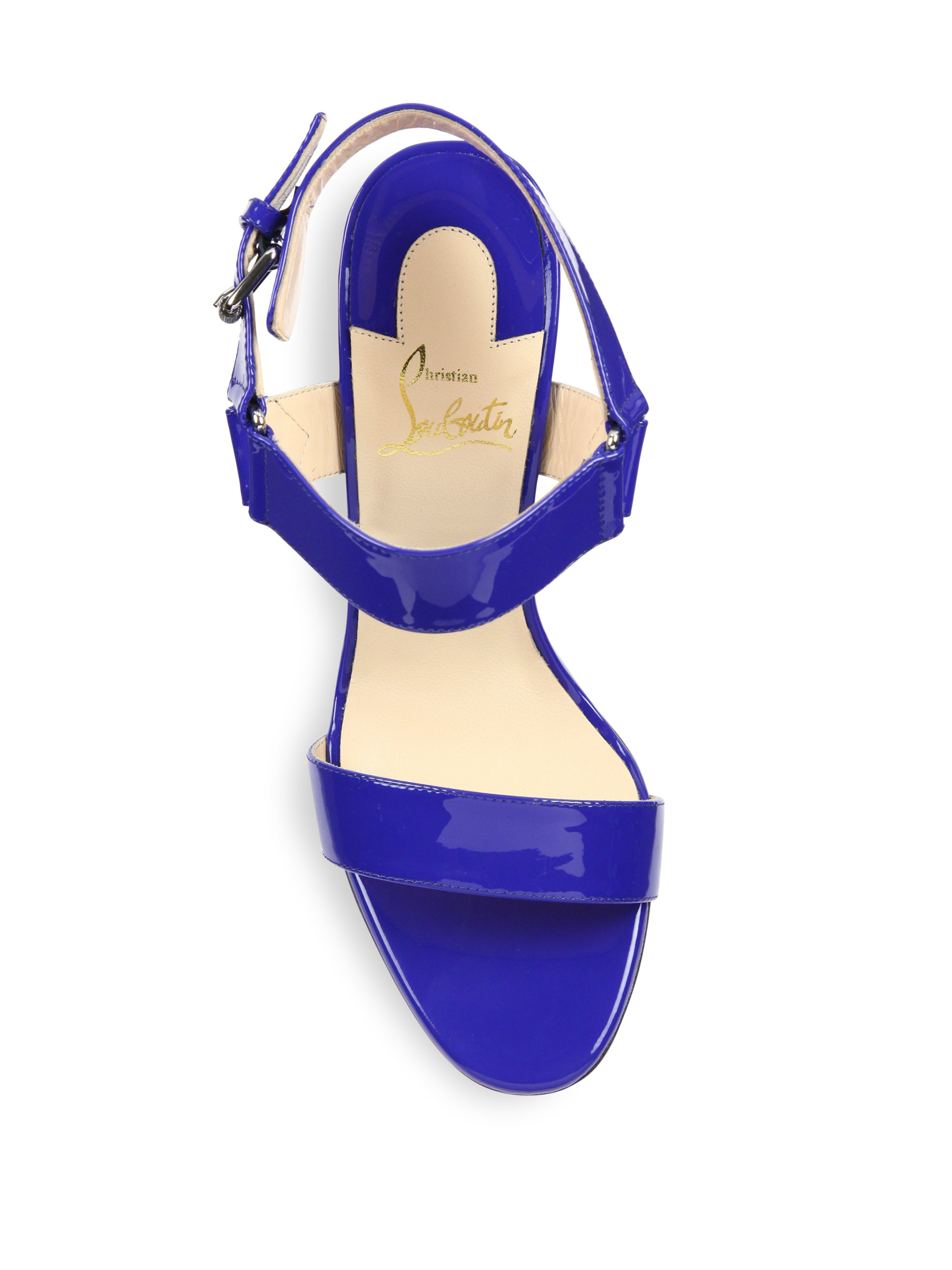 louis vuitton red bottom sneakers for men - Christian louboutin Sova Patent Leather Sandals in Blue (electric ...