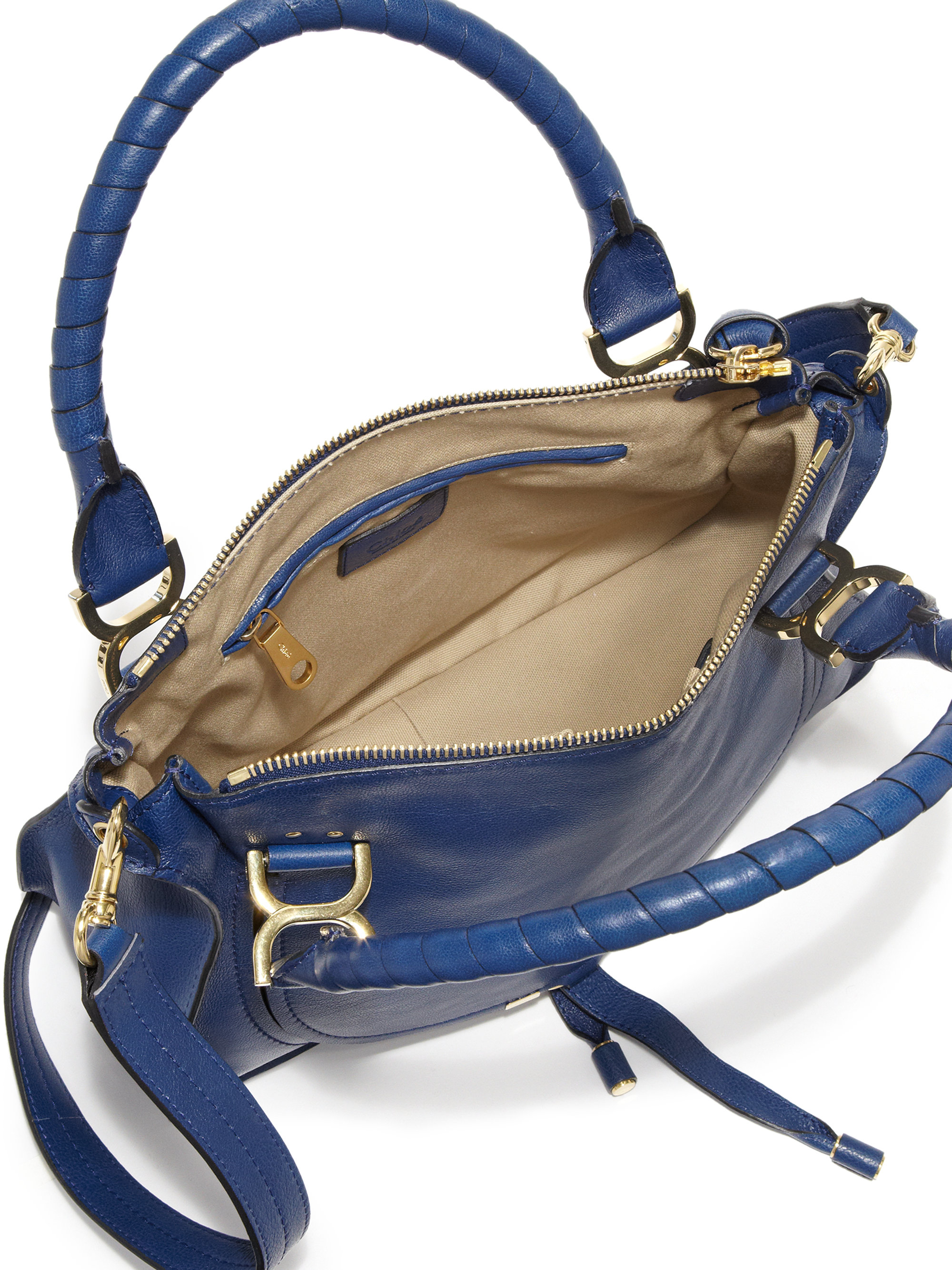 f7d984f2d1 Lyst - Chloé Marcie Medium Leather Satchel in Blue