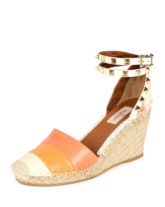 43282689d61 Lyst - Valentino Rockstud Color-Blocked Wedge Espadrilles in Orange