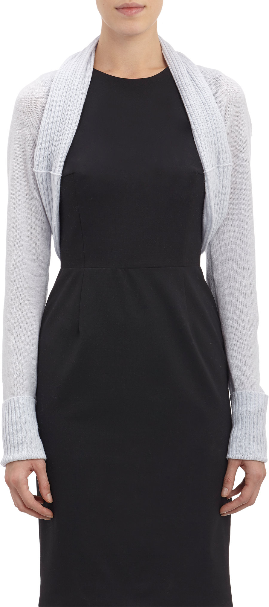 Long Sleeved Shrug Knitting Pattern : Barneys new york Chunky Rib-Knit Long-Sleeve Shrug in Gray (grey) Lyst