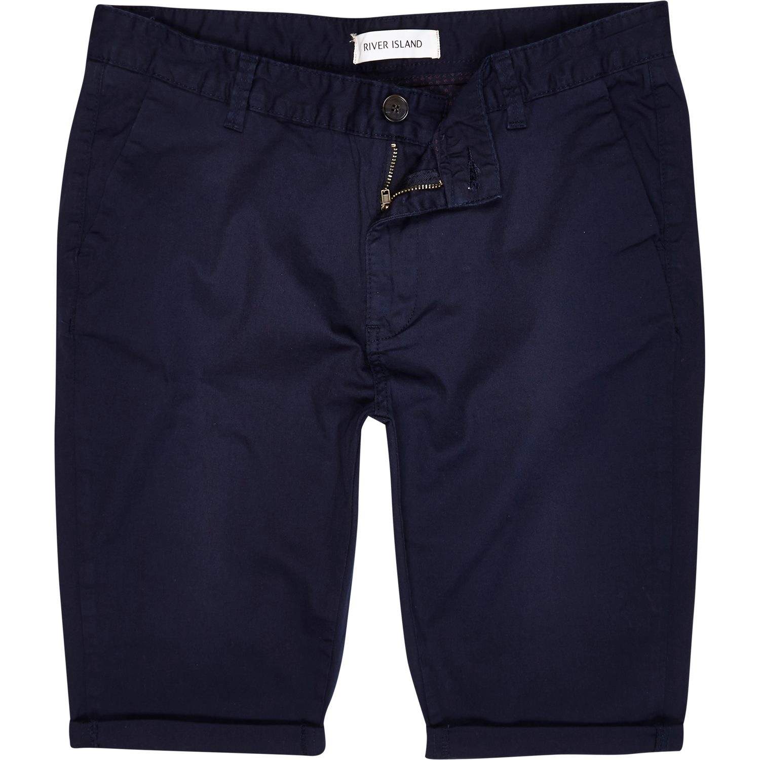 River island Navy Blue Skinny Stretch Chino Shorts in Blue for Men ...