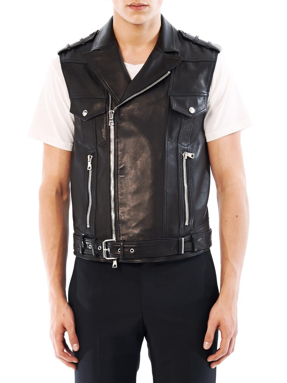 attractive style latest sale 2019 original Balmain Sleeveless Leather Biker Jacket in Black for Men - Lyst