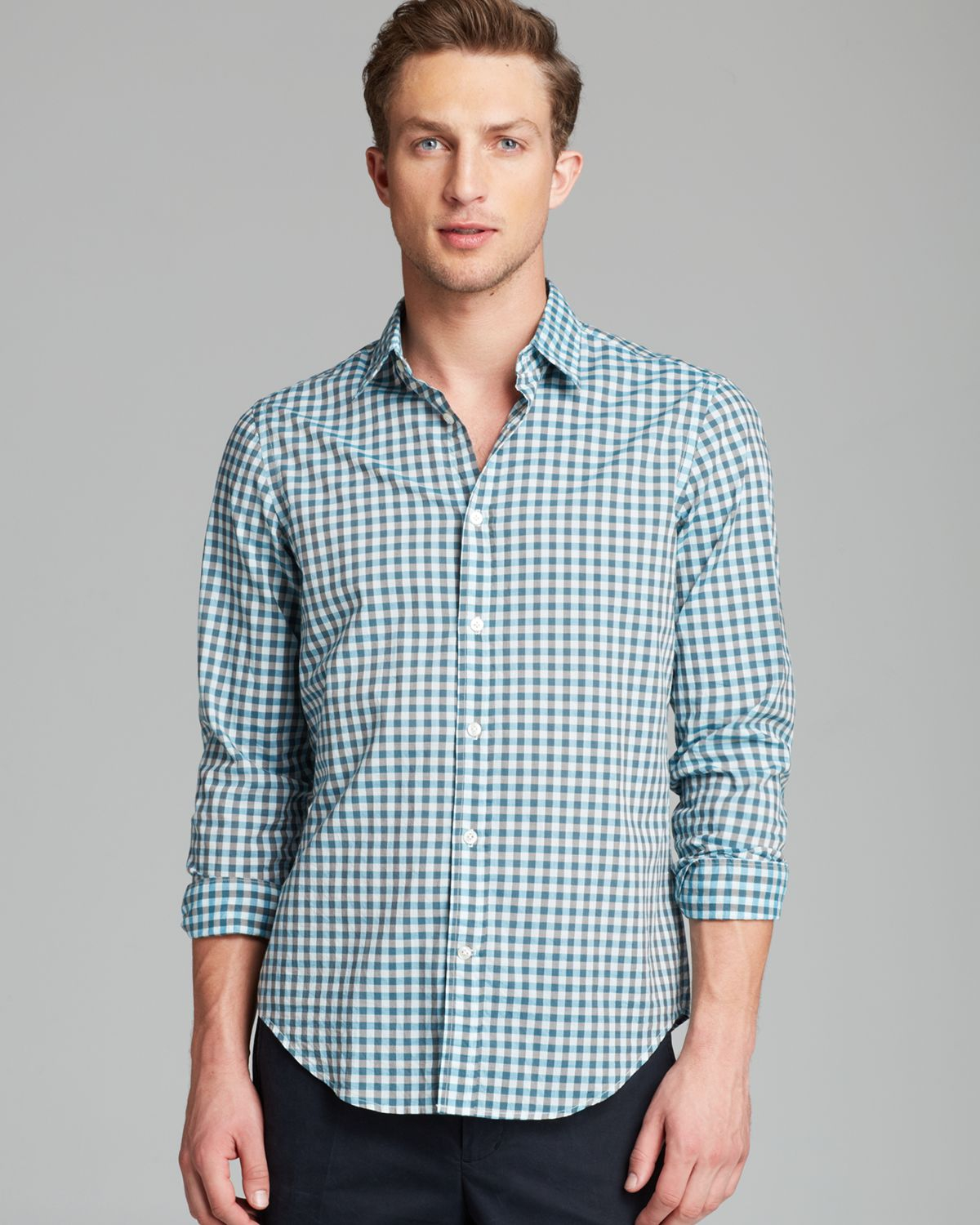 Vince gingham check sport shirt slim fit in green for men for Slim fit gingham check shirt