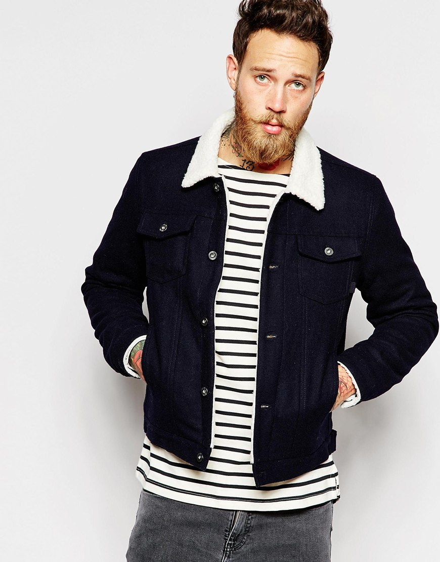 Lyst Asos Wool Bomber Jacket With Faux Shearling Collar