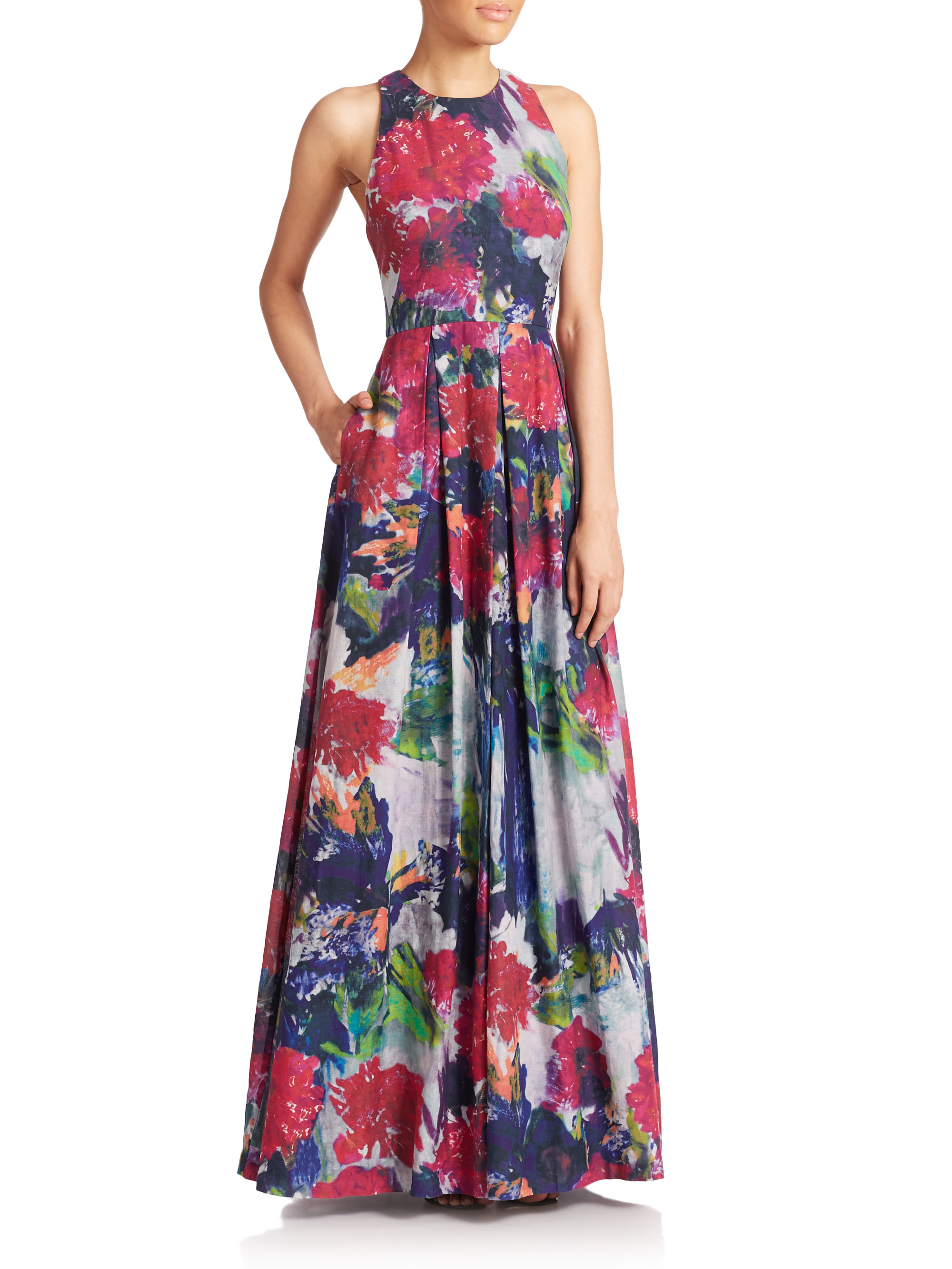 Lyst Phoebe Floral Silk Cotton Maxi Dress