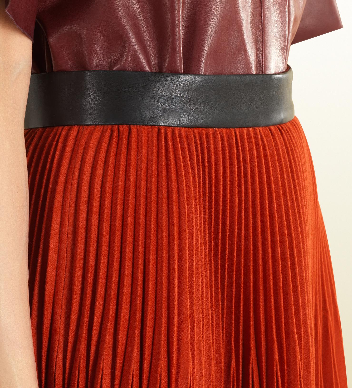 Gucci Orange Flannel Pleated Skirt in Orange | Lyst