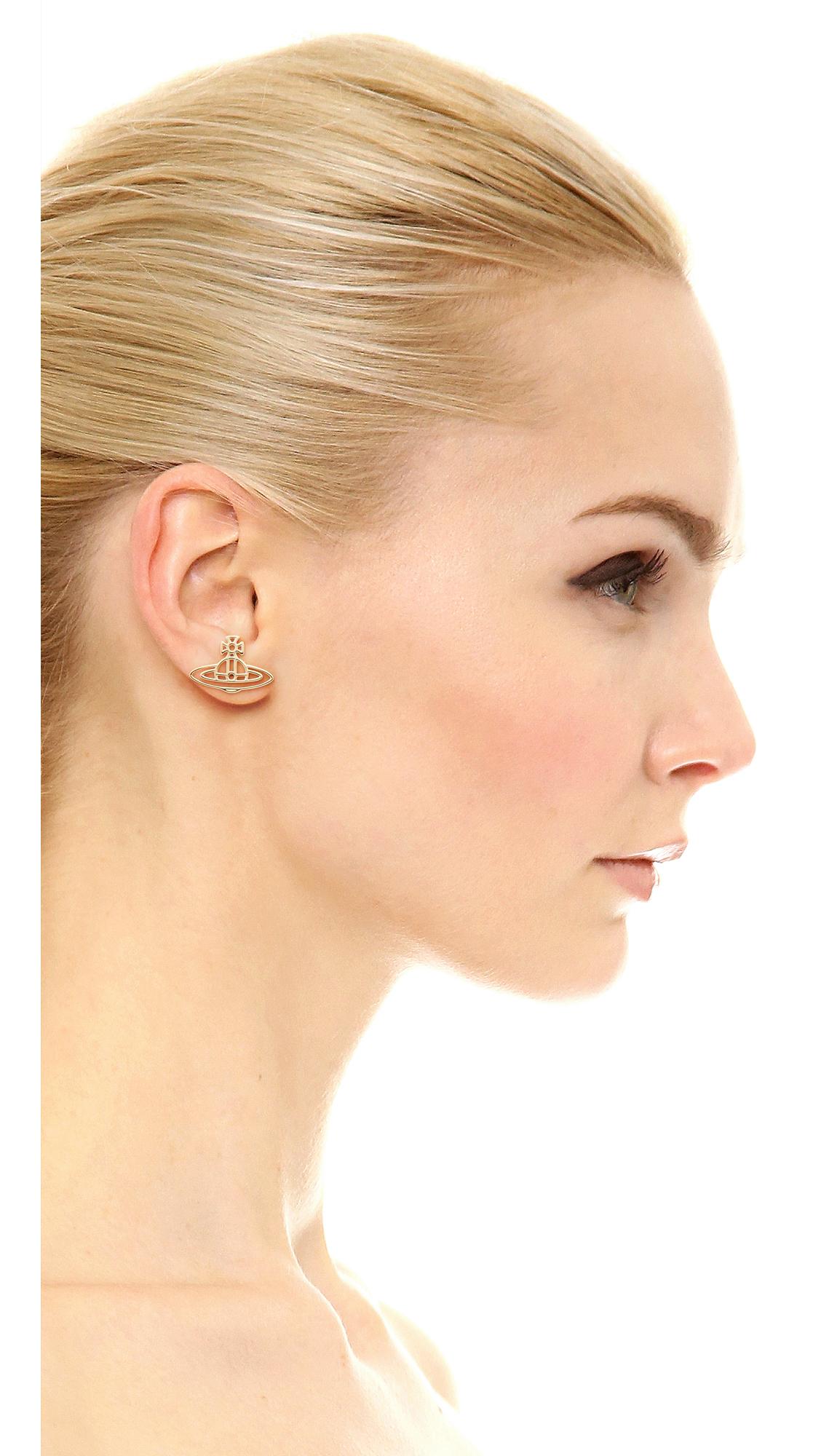 Vivienne Westwood Thin Lines Flat Orb Stud Earrings In Gold