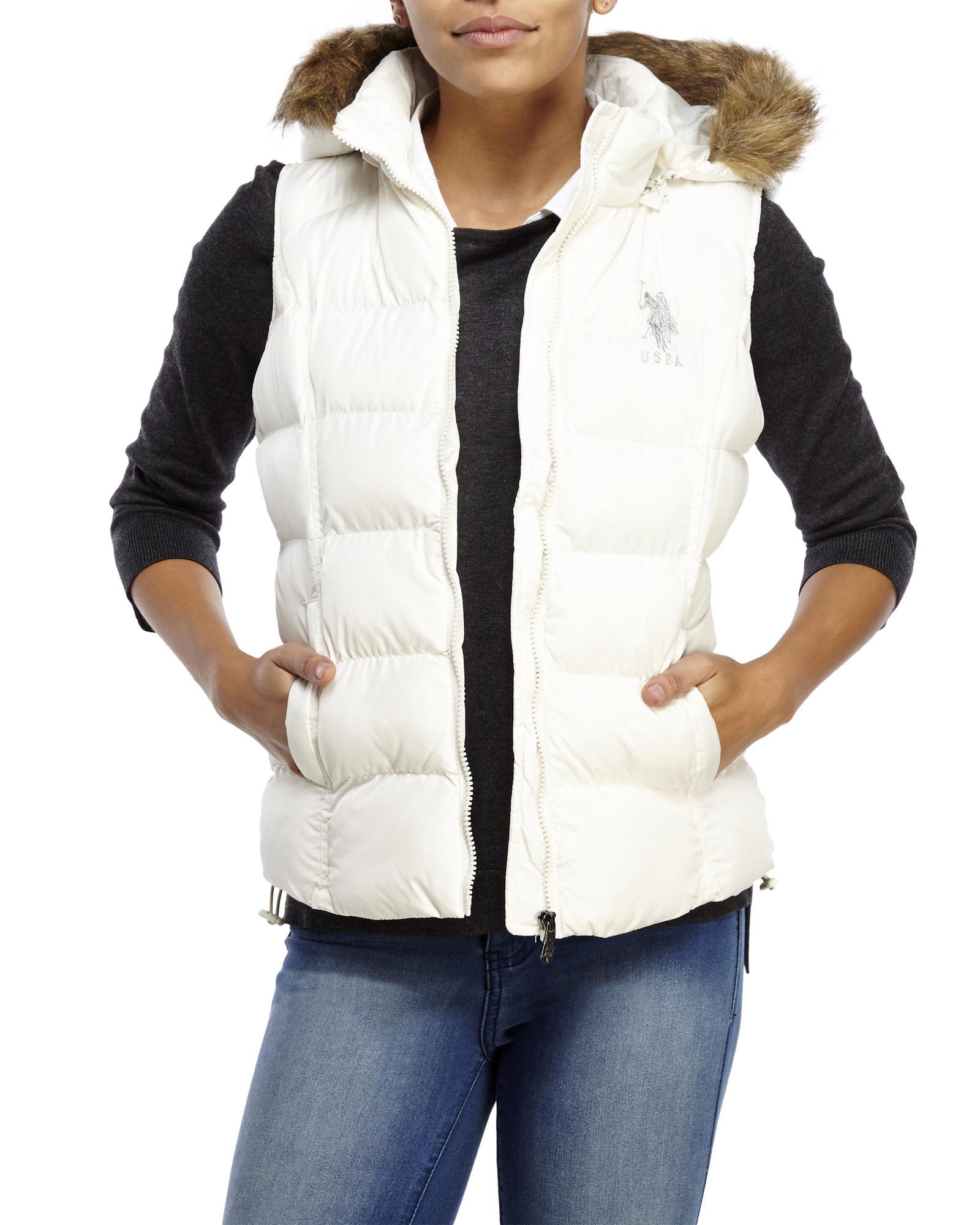 Lyst U S Polo Assn Faux Fur Hooded Logo Puffer Vest In