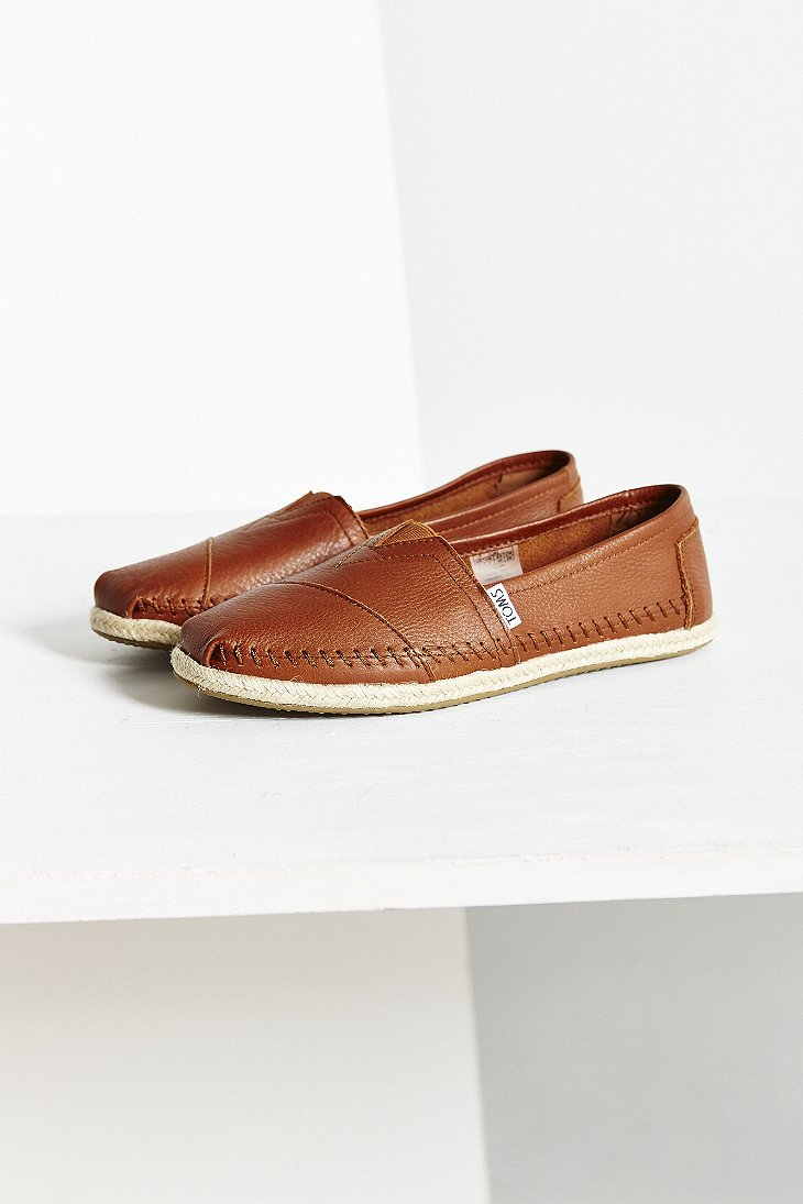 9aeffad79f6 Lyst - TOMS Leather Espadrille in Brown