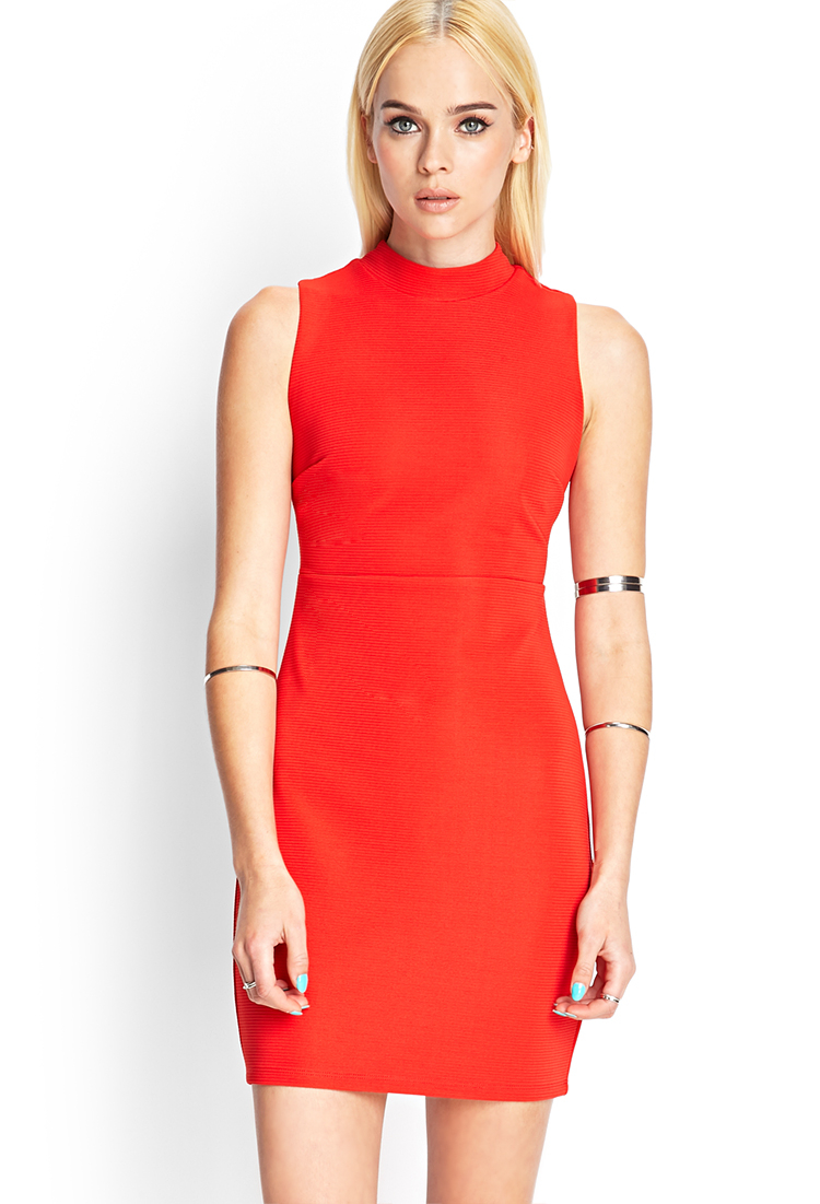 Forever 21 Ribbed Knit Cutout Dress in Red | Lyst