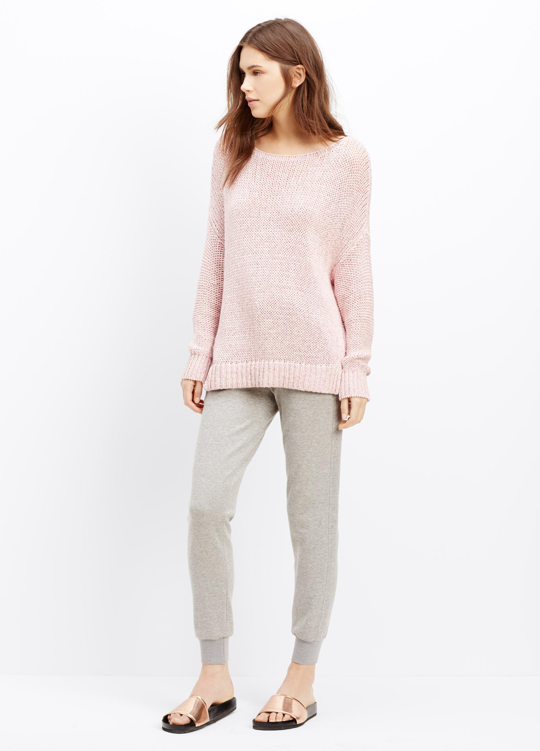 Vince Drop Shoulder Mélange Cotton Sweater in Pink   Lyst