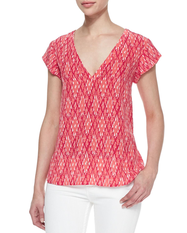 57142b60199a43 Lyst - Joie Rubina Ikatprint Silk Top in Red