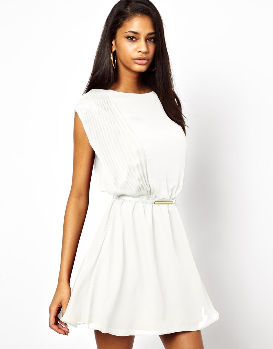 asos skater dress with soft pintucks and belt in white