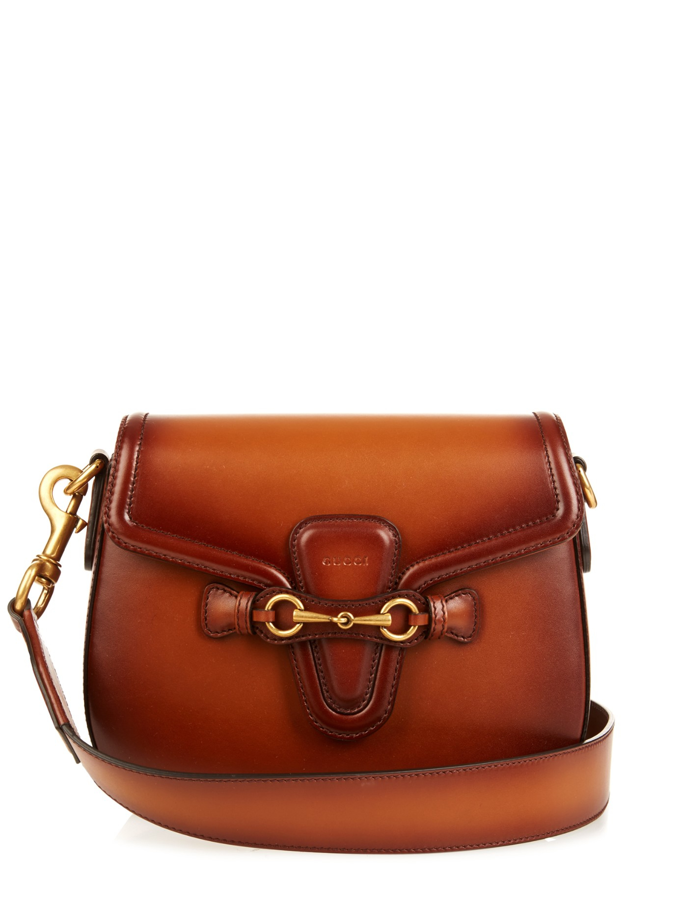 2a1d7e28dc81 Lyst - Gucci Lady Web Medium Leather Shoulder Bag in Brown