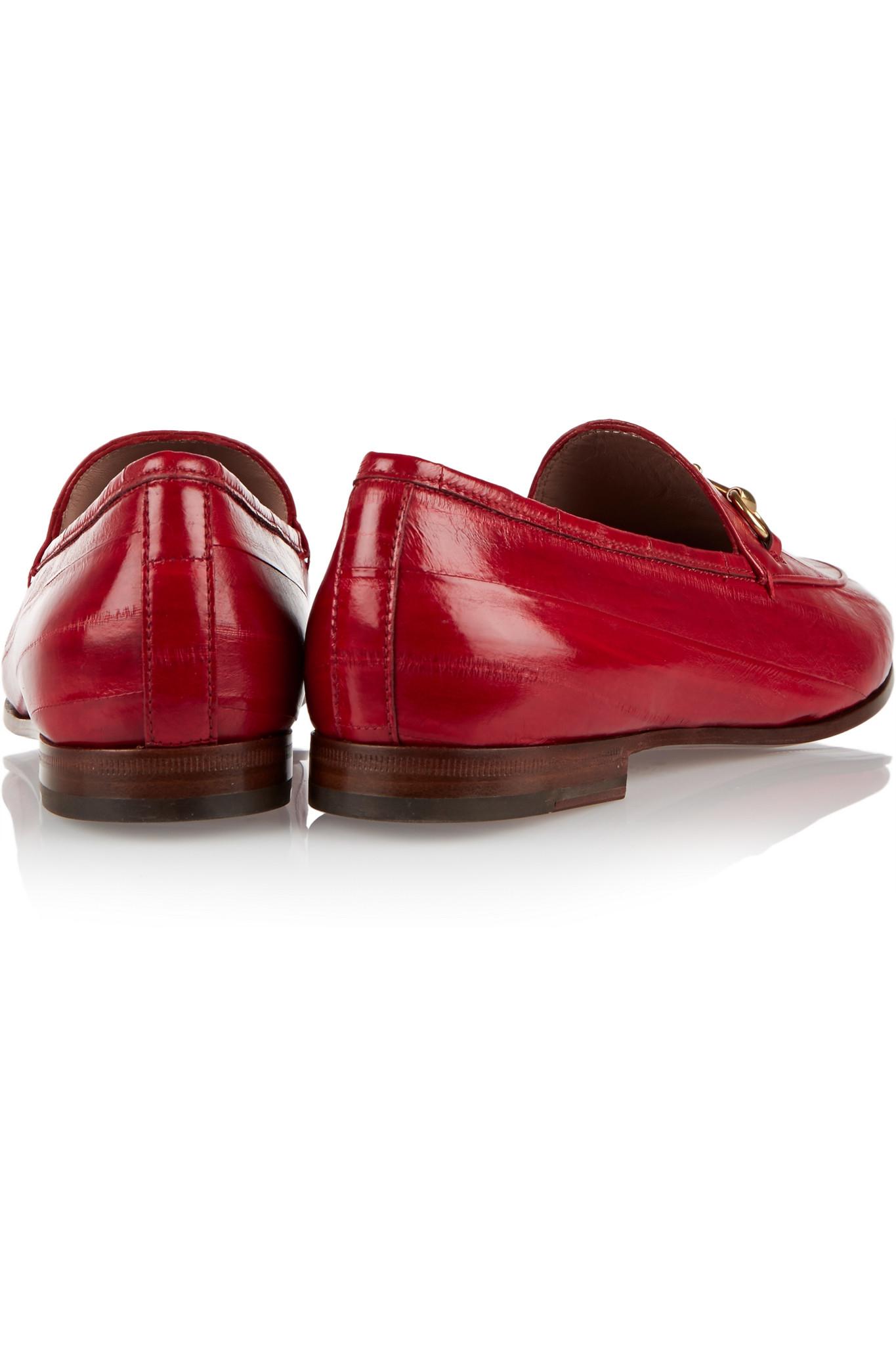 c35153f99de Gucci Horsebit-detailed Eel Loafers in Red - Lyst