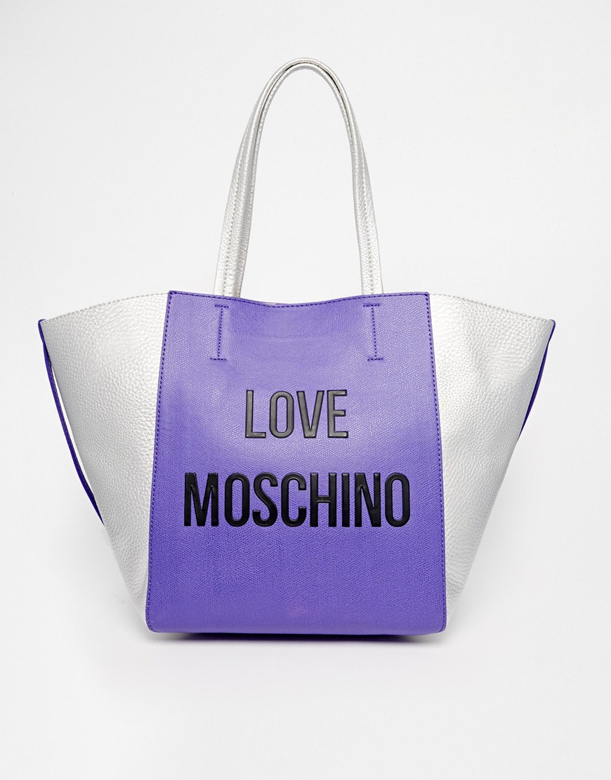 love moschino logo shopper bag in purple in purple lyst. Black Bedroom Furniture Sets. Home Design Ideas
