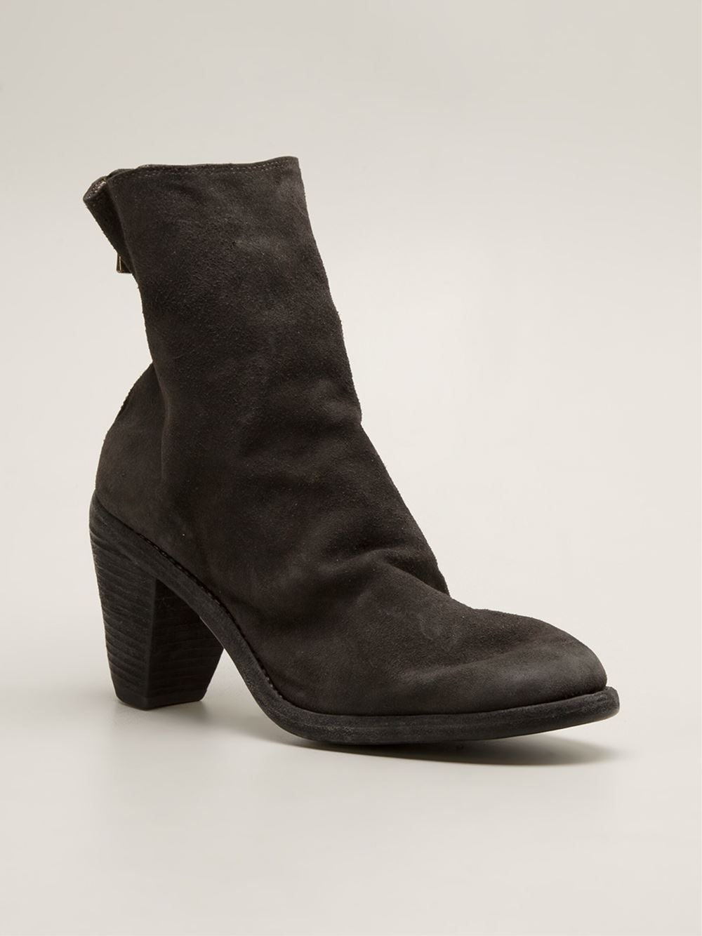 guidi heel zip leather boots in gray grey lyst