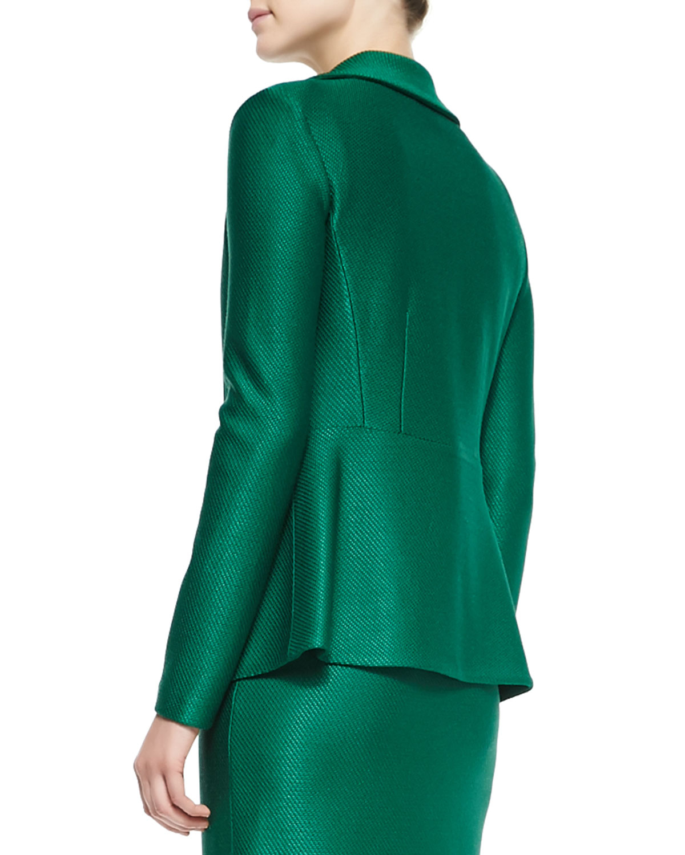 St. john Twill Knit Peplum Jacket in Green Lyst