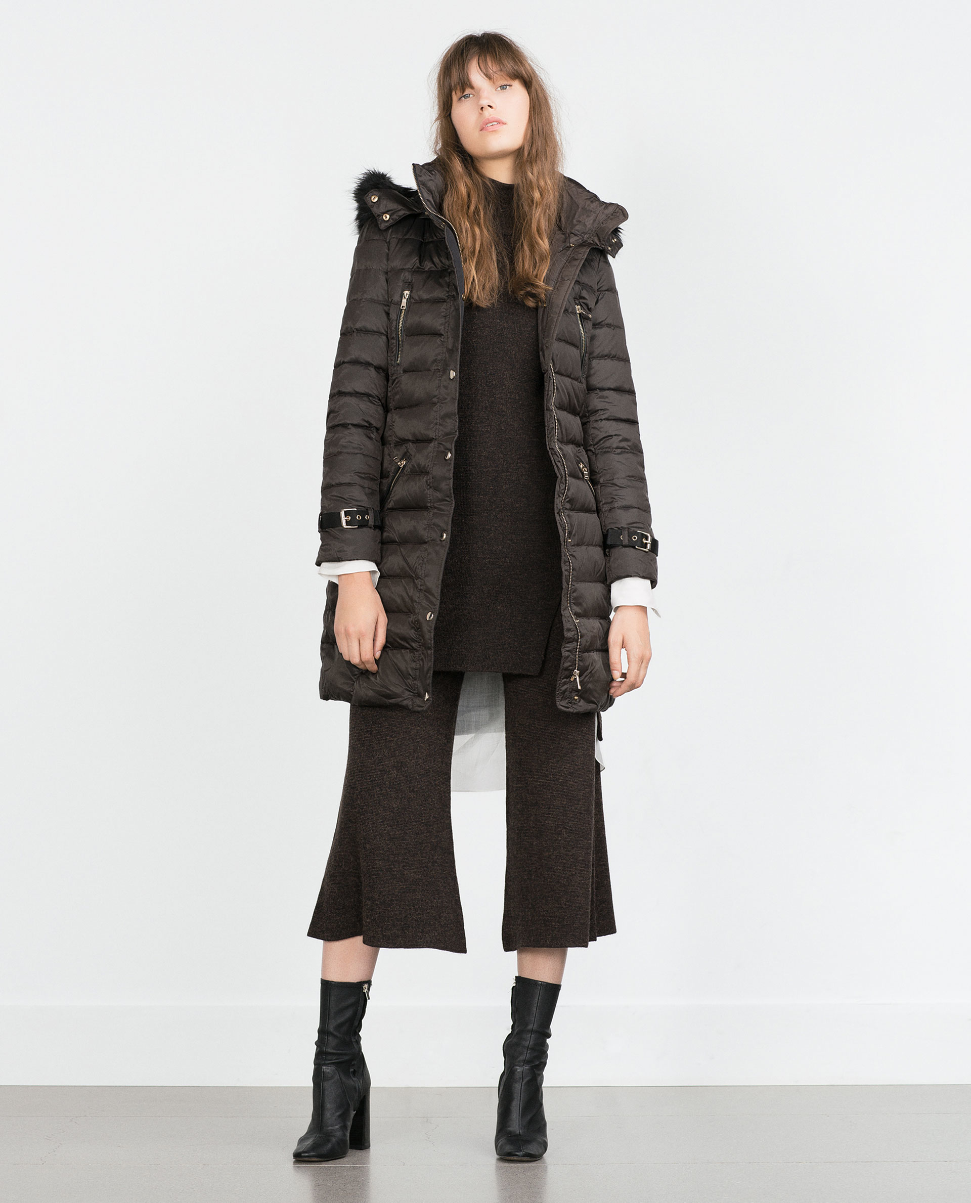 Zara Long Quilted Coat With Detachable Hood in Brown | Lyst