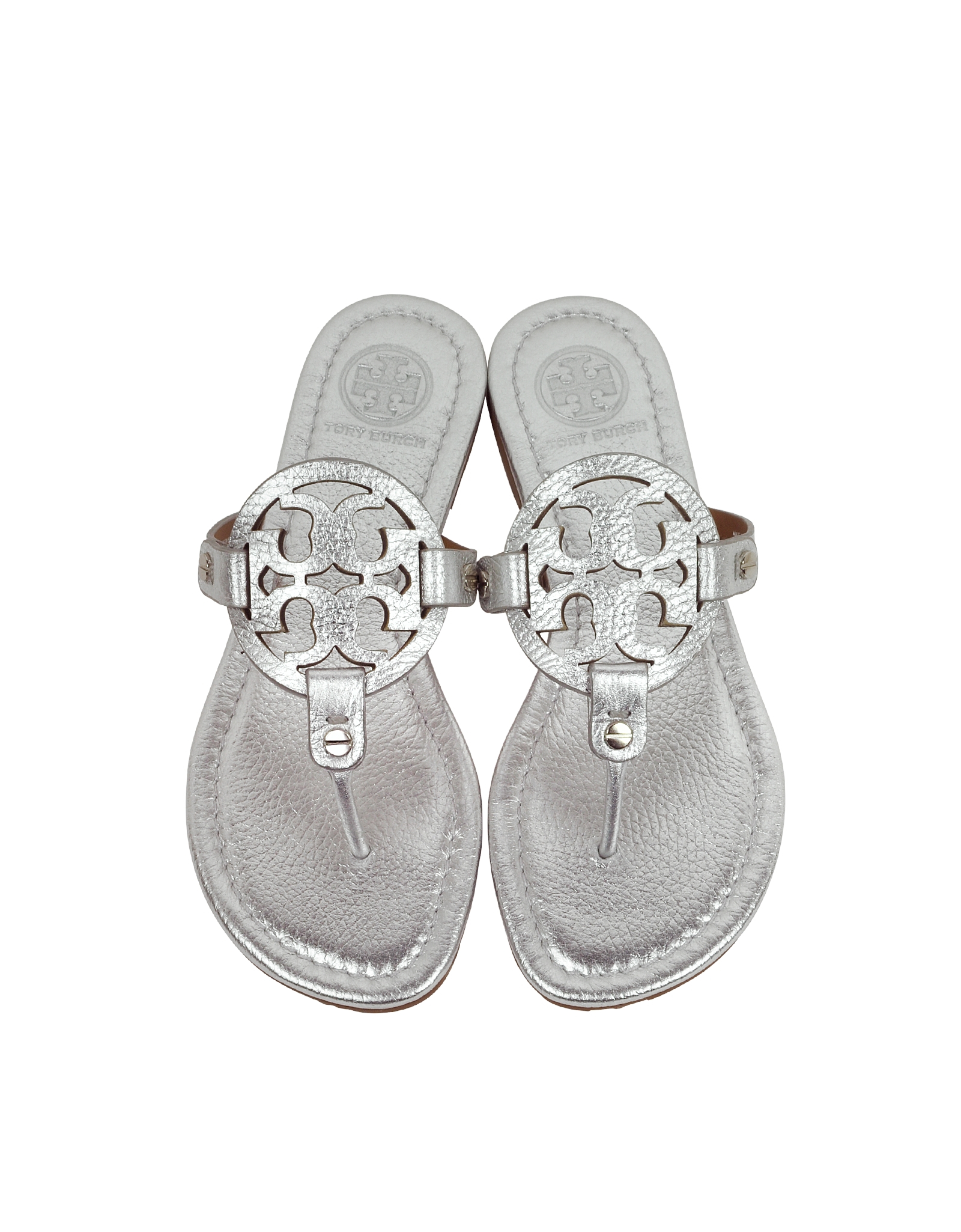 44fccfa4e3a2 Lyst - Tory Burch Miller Metallic Silver Leather Sandal in Metallic