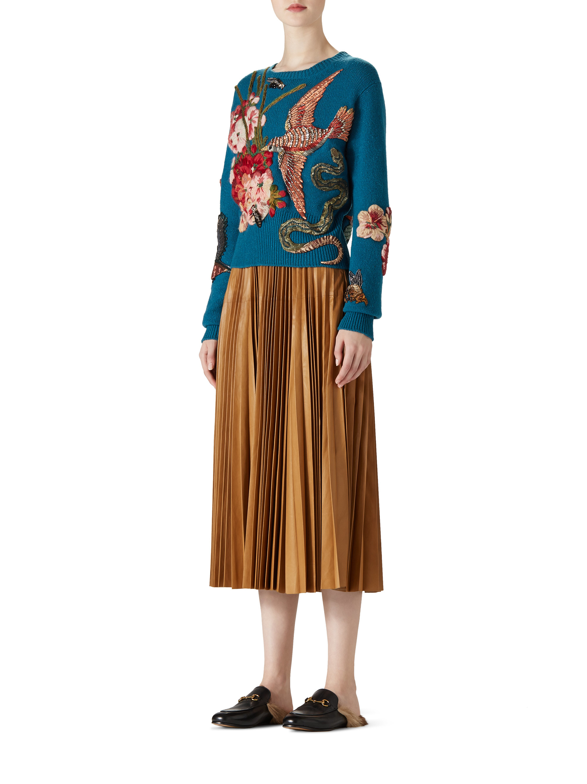 Lyst Gucci Pleated Leather Skirt In Brown