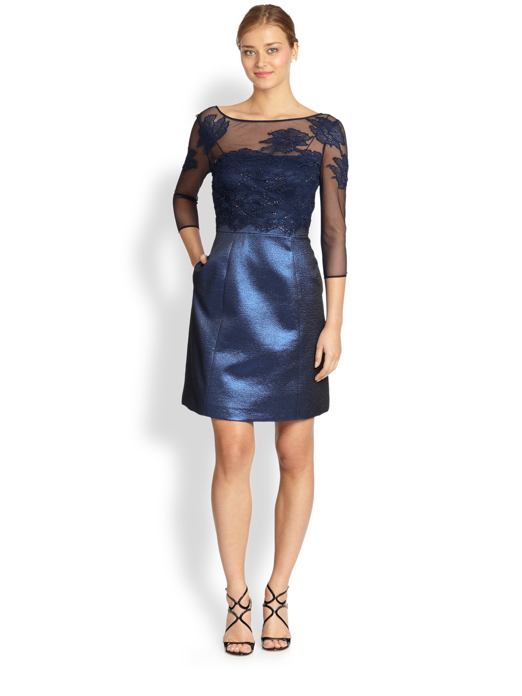 Lyst - Kay Unger Metallic Mixed-Media Cocktail Dress in Blue