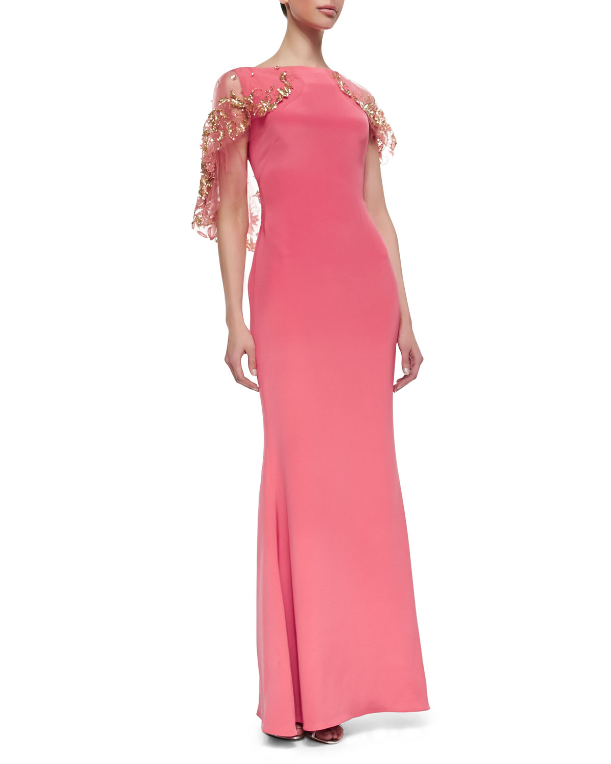 Lyst - Marchesa Embroidered Cape Gown in Pink
