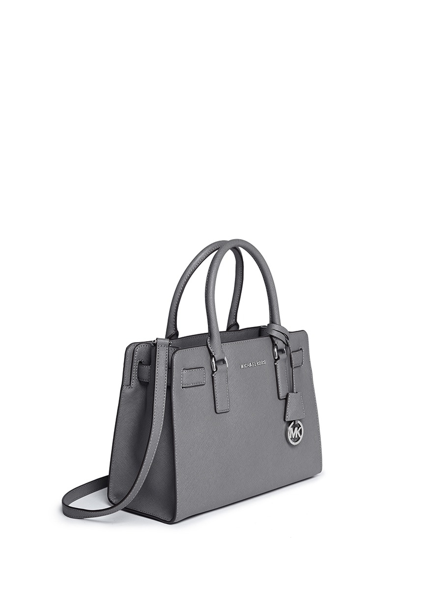 lyst michael kors dillon saffiano leather satchel in gray rh lyst com