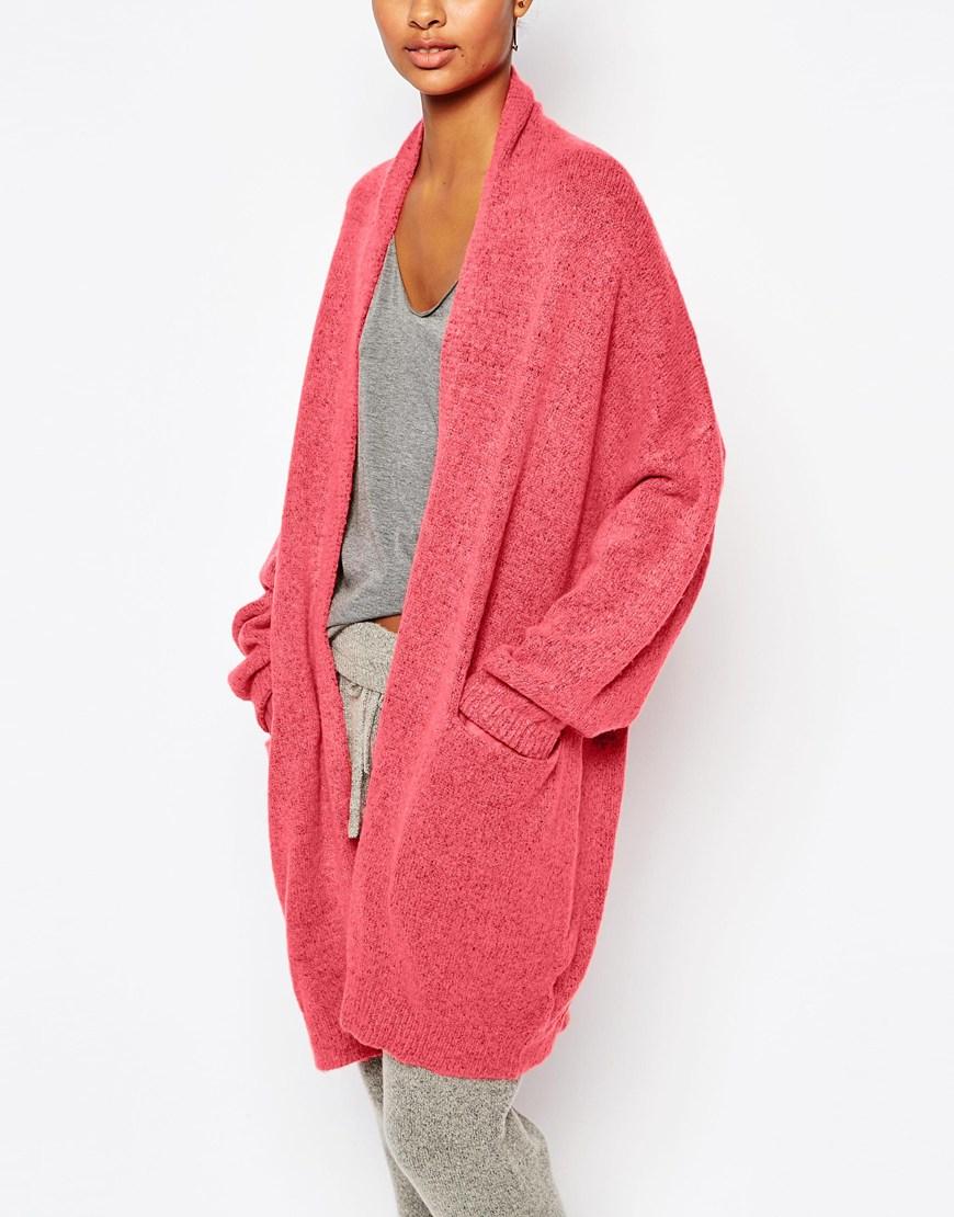 5838deda1e Lyst - Micha Lounge Oversized Bell Sleeve Cardigan in Pink