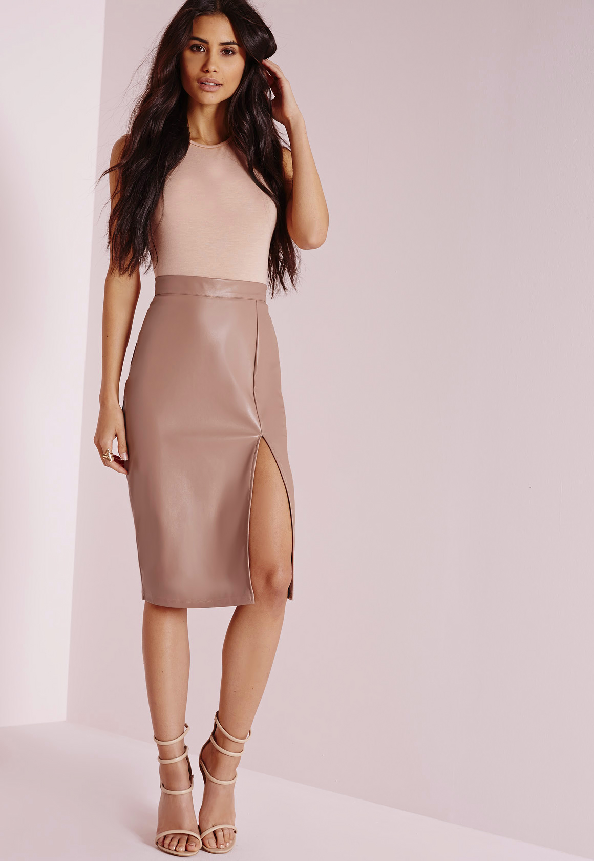 Missguided Faux Leather Side Split Midi Skirt Nude in Natural | Lyst
