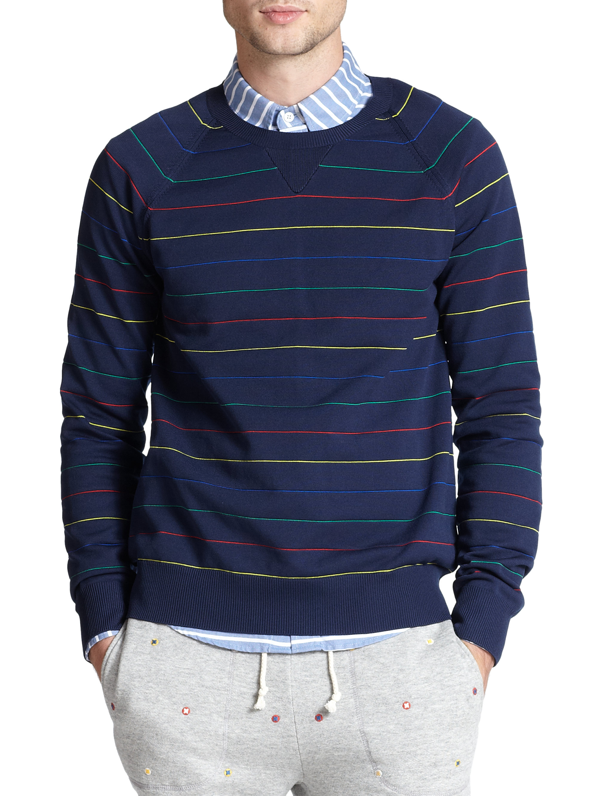 Band of outsiders Stripe Crewneck Sweater in Blue for Men | Lyst