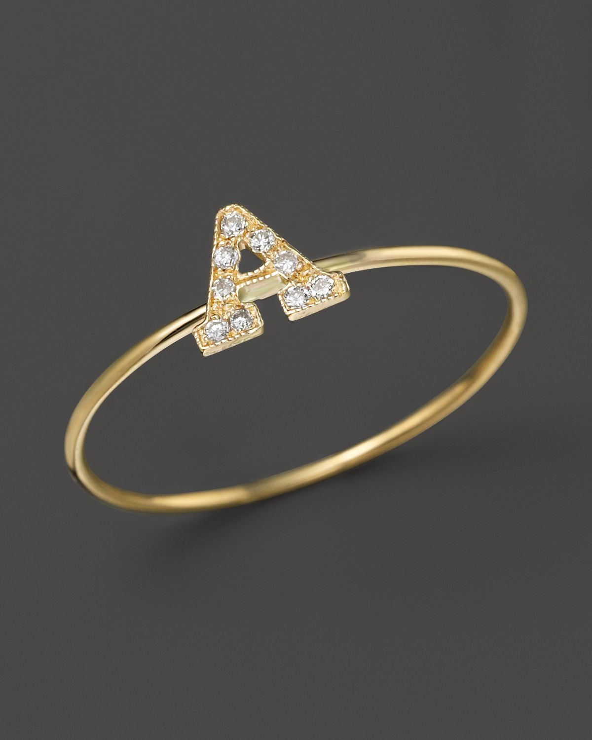 Zoë Chicco Pave Diamond Gold Initial Ring LuWqf3K