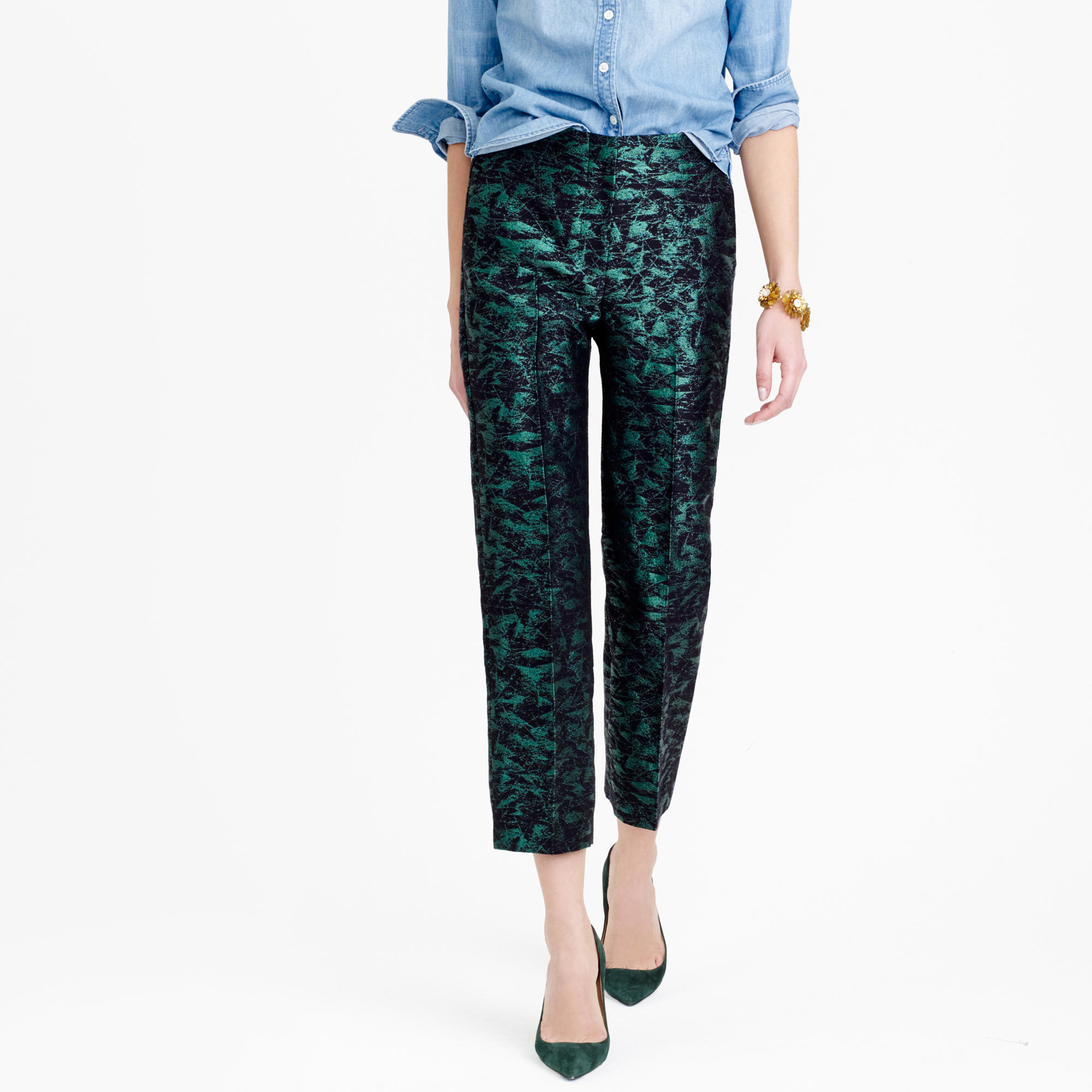 J Crew Patio Pant In Evergreen Jacquard In Black Lyst