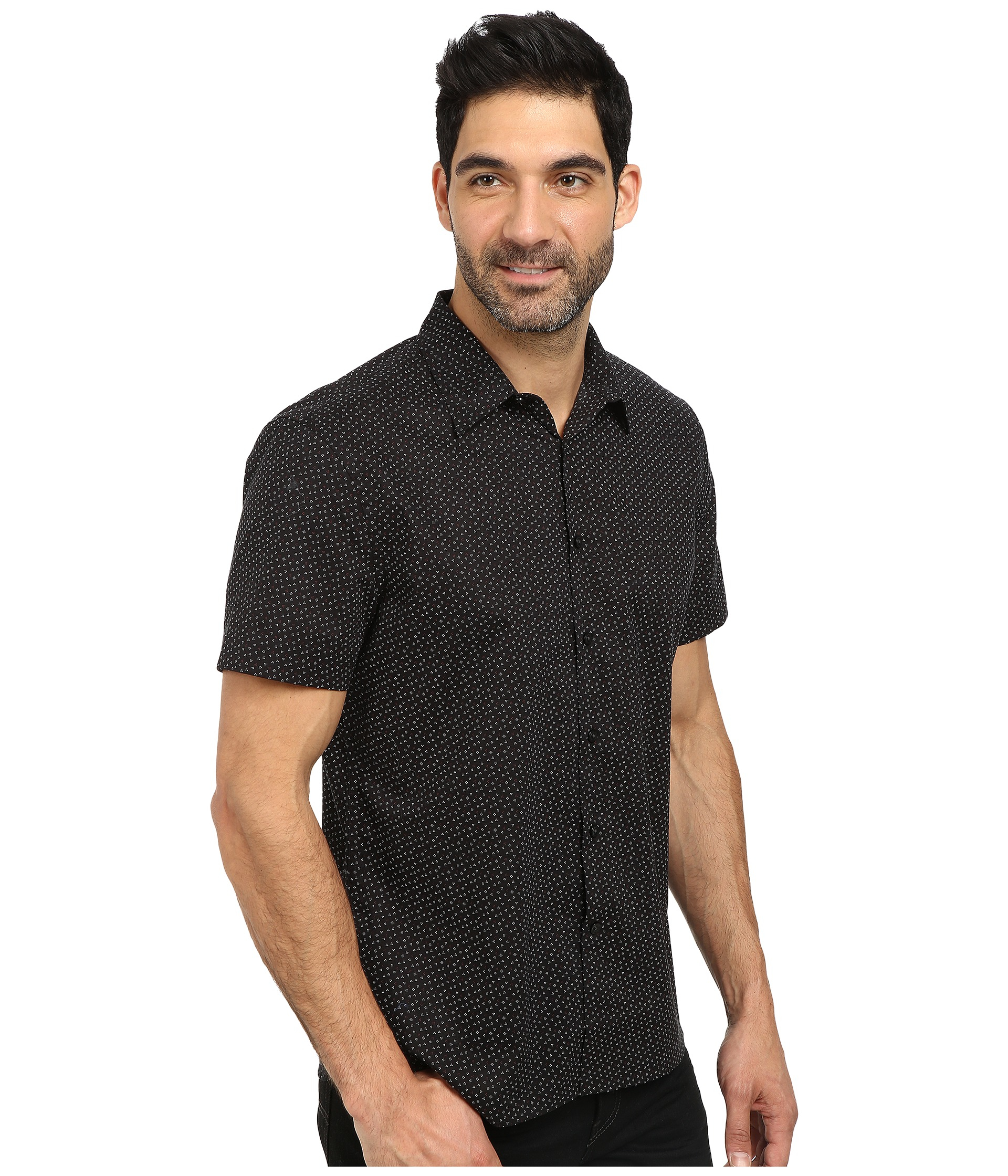 9ac96a637f Lyst - Perry Ellis Short Sleeve Mini Dot Print Shirt in Black for Men