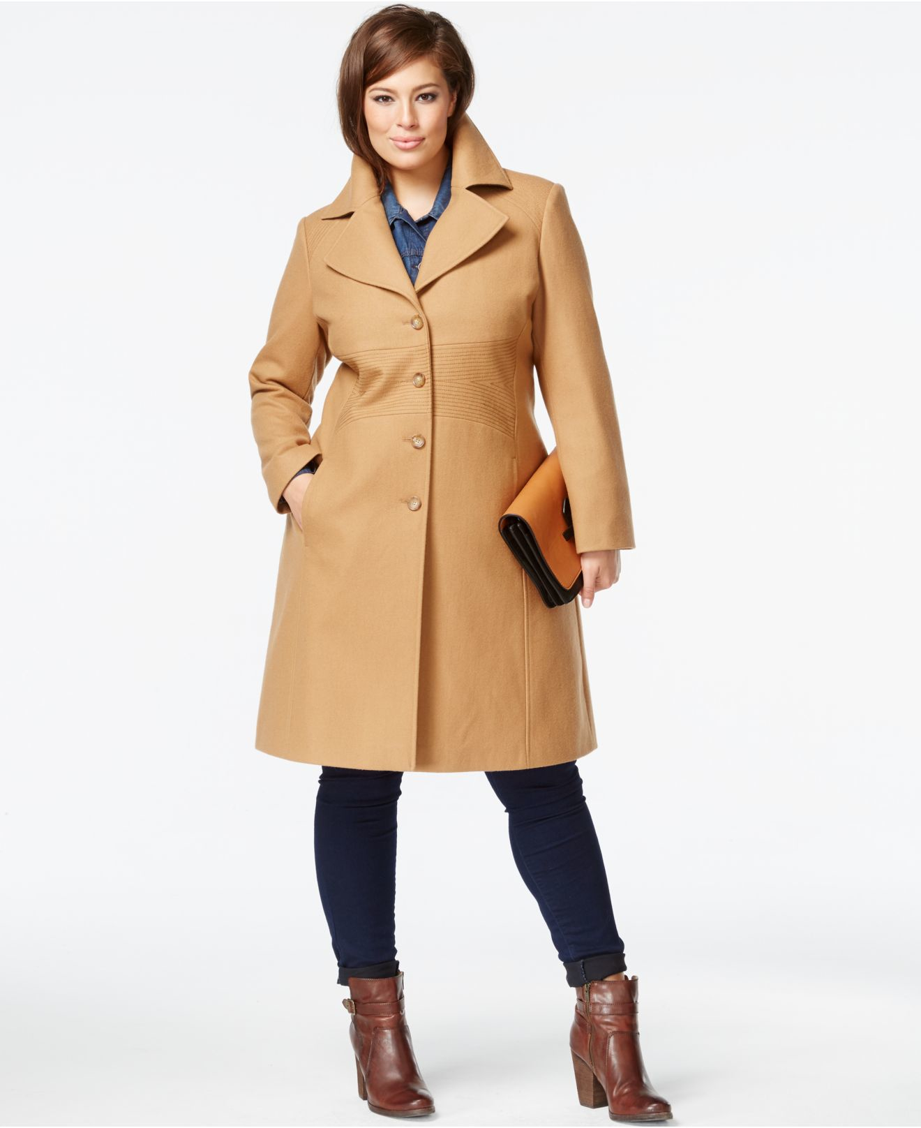 Tommy hilfiger Plus Size Wool-blend Walker Coat in Natural | Lyst